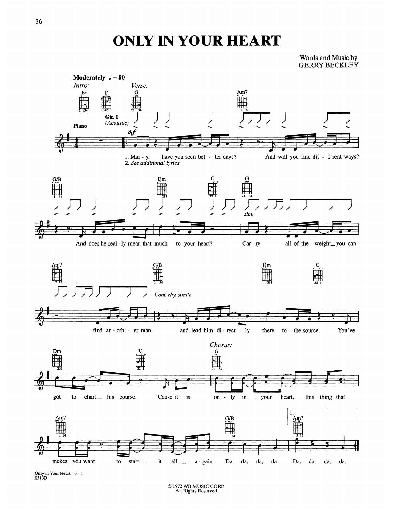 Only In Your Heart Sheet Music