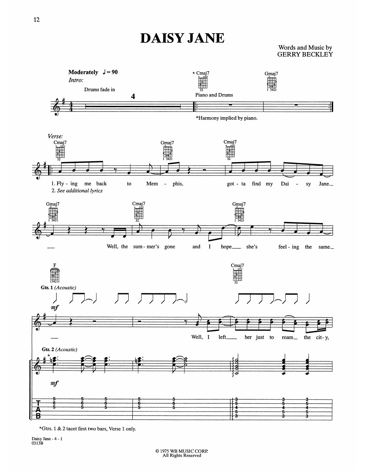 Daisy Jane Sheet Music