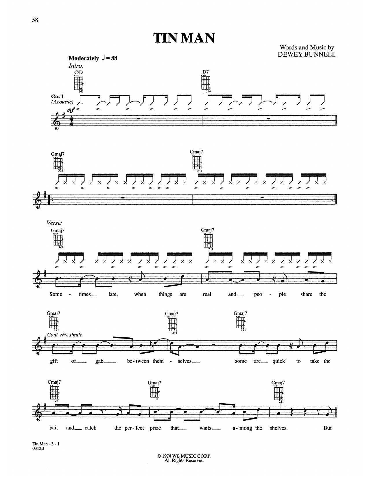 Tin Man Sheet Music