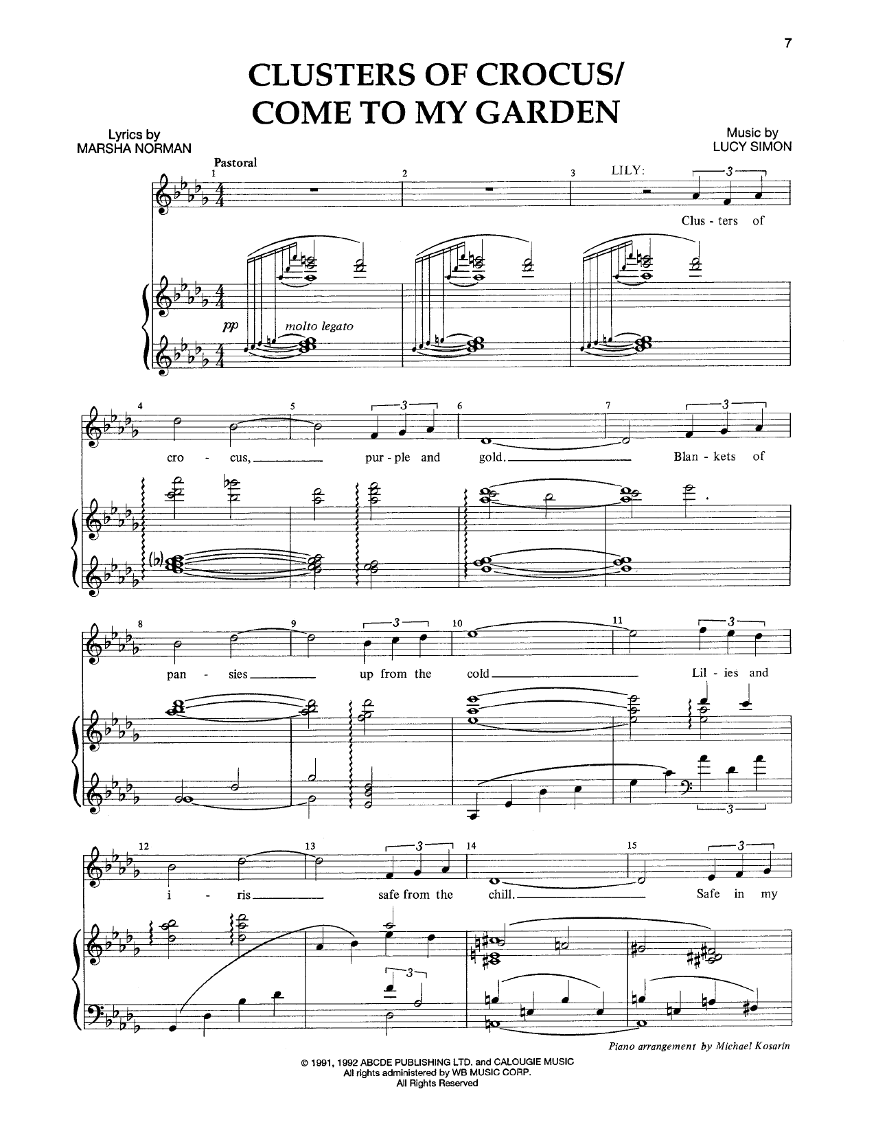 Clusters Of Crocus (Opening Dream) (from The Musical: The Secret Garden) Sheet Music