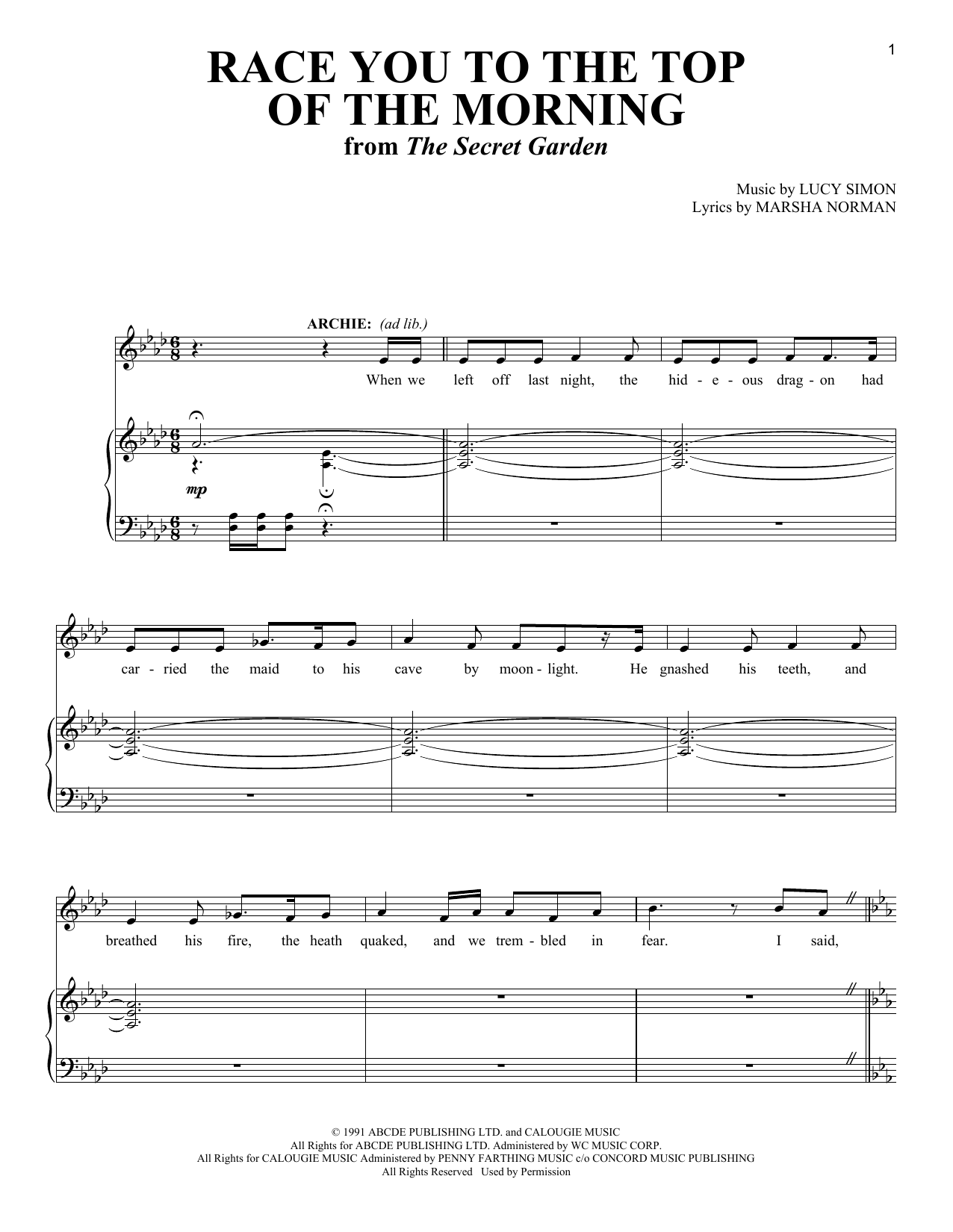 Race You To The Top Of The Morning (from The Musical: The Secret Garden) Sheet Music