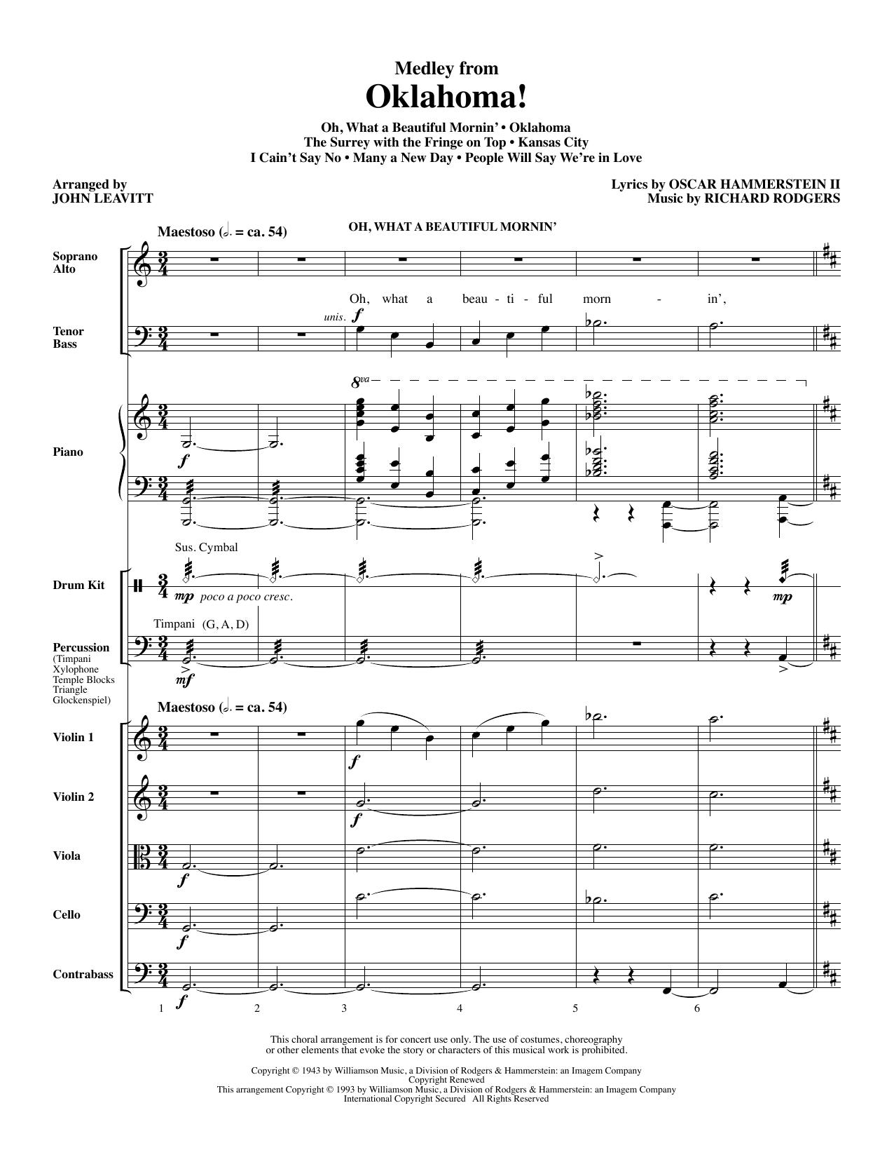 Oklahoma! (Medley) (arr. John Leavitt) - Full Score (Choir Instrumental Pak)