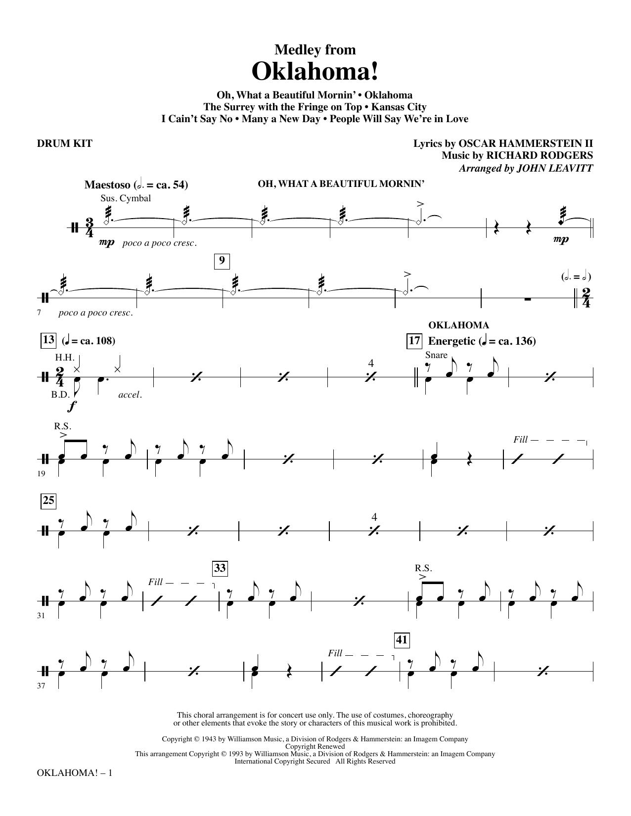 Oklahoma! (Medley) (arr. John Leavitt) - Drum Set (Choir Instrumental Pak)