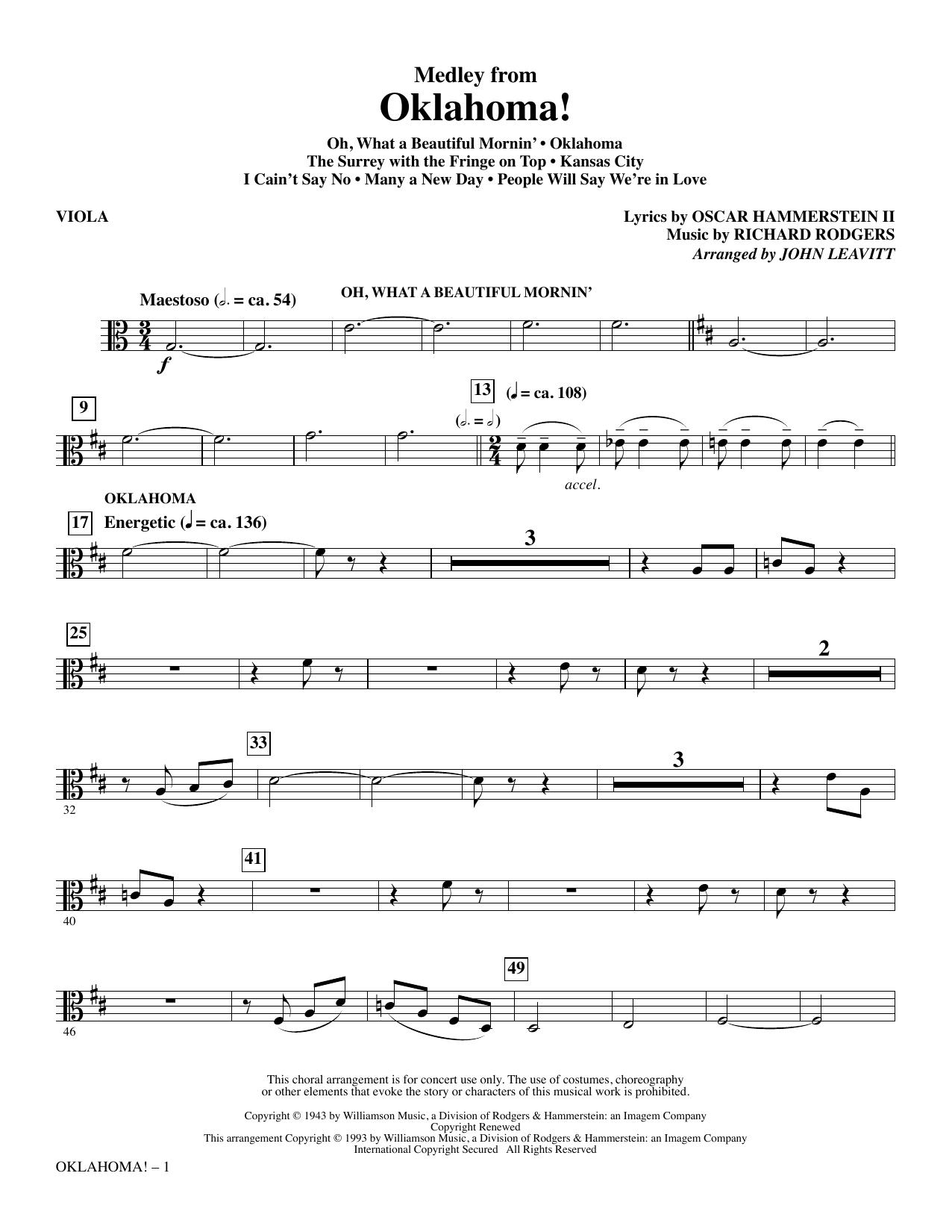 Oklahoma! (Medley) (arr. John Leavitt) - Viola (Choir Instrumental Pak)
