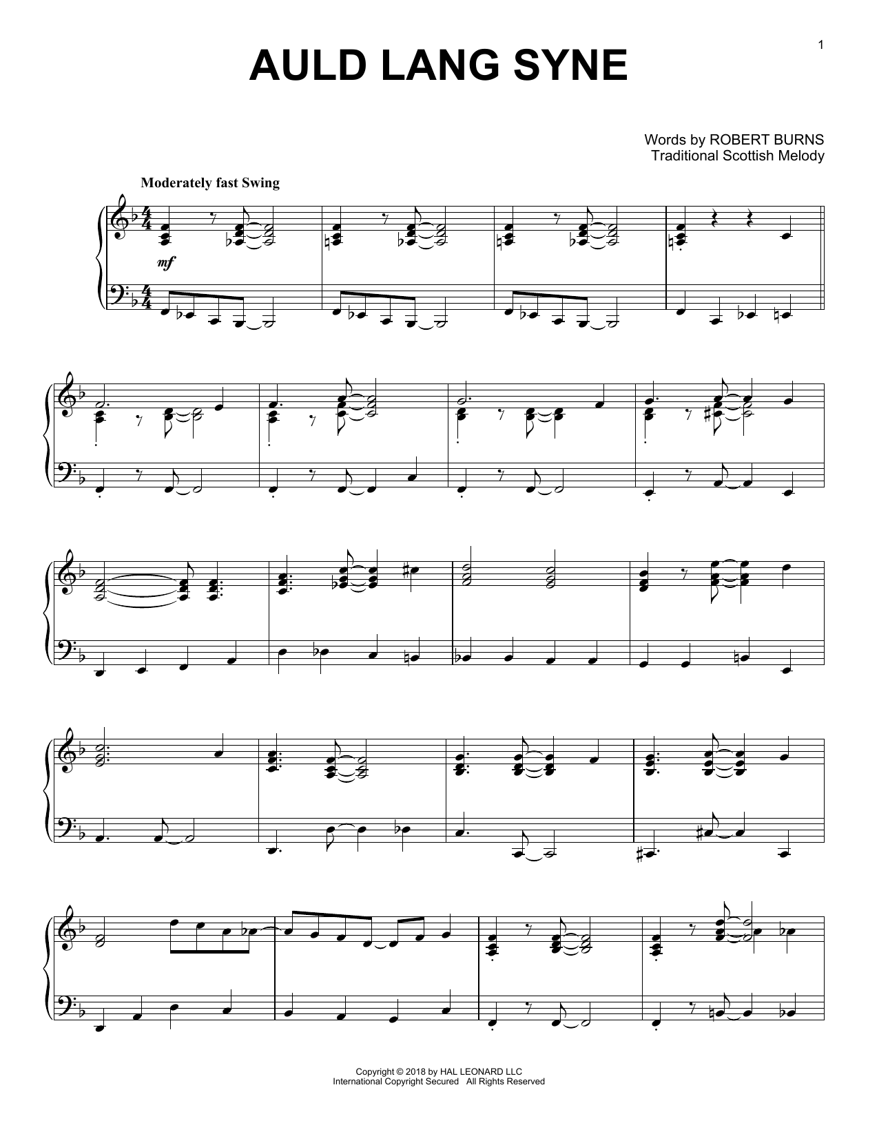 Auld Lang Syne [Jazz version] (Piano Solo)