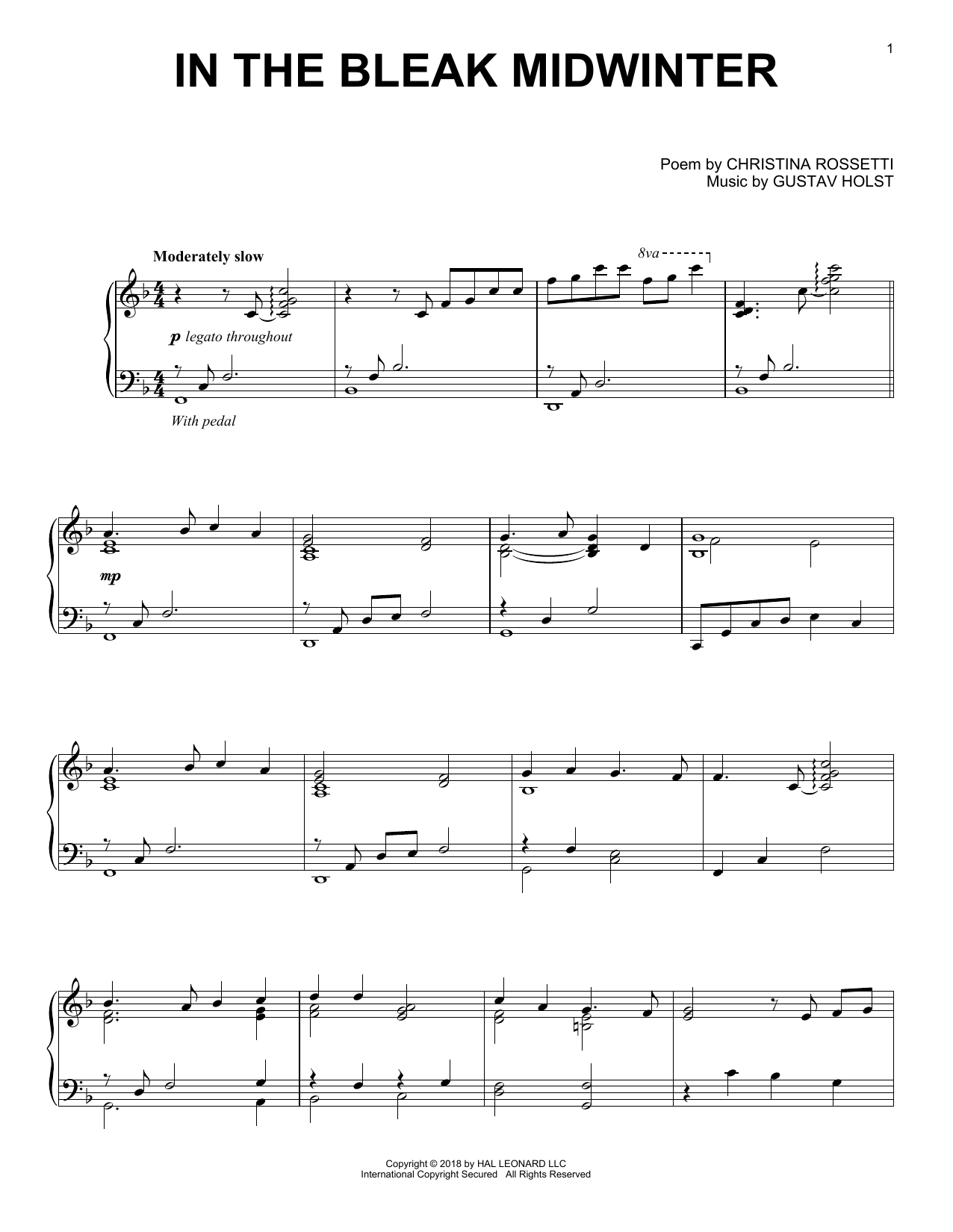 In The Bleak Midwinter [Jazz version] (Piano Solo)