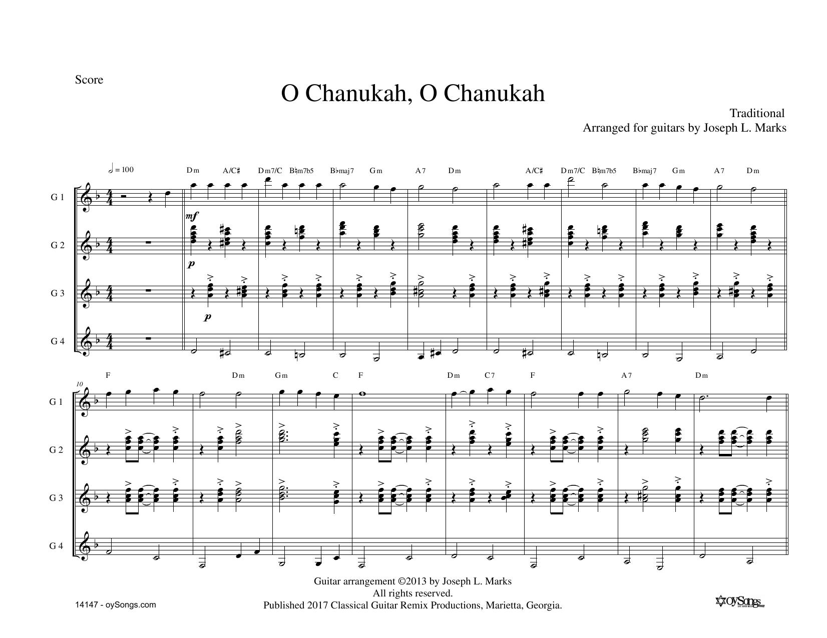 O Chanukah for Guitar Quartet Sheet Music