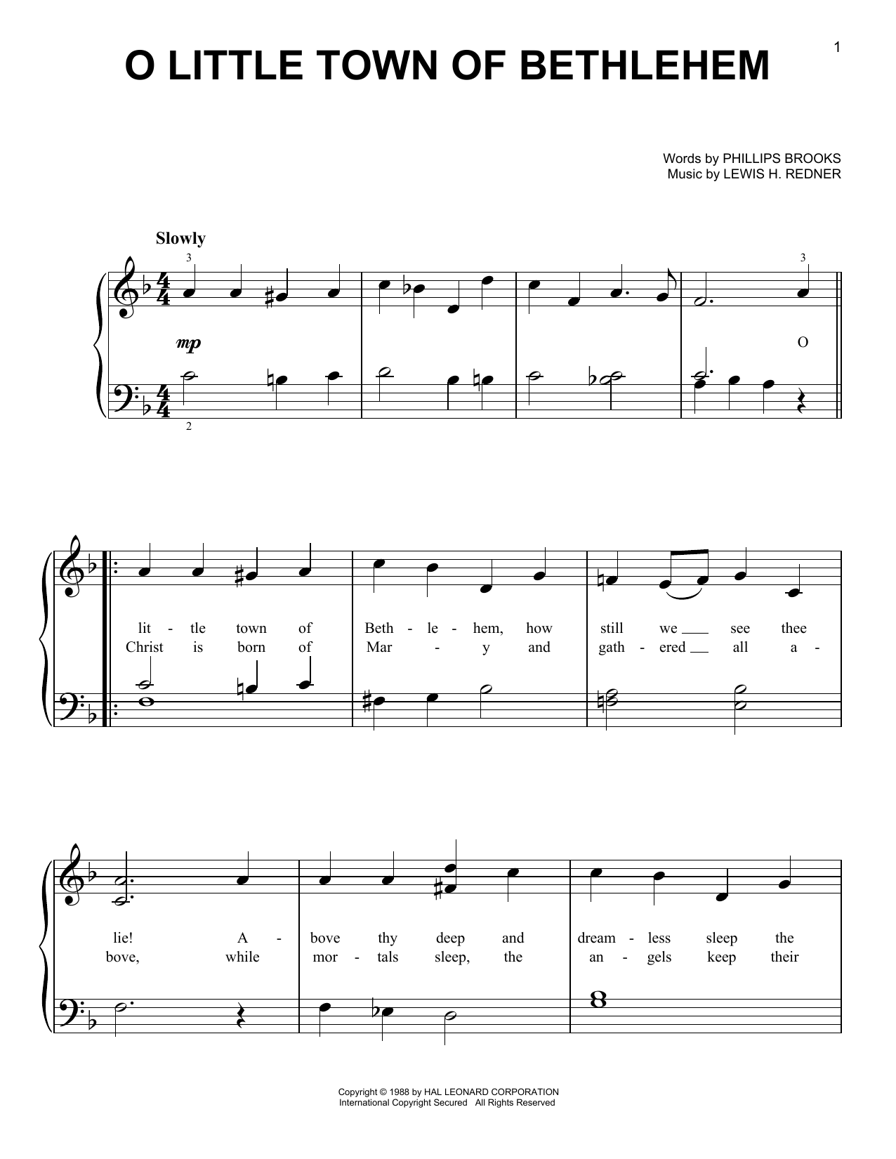 O Little Town Of Bethlehem (Very Easy Piano)