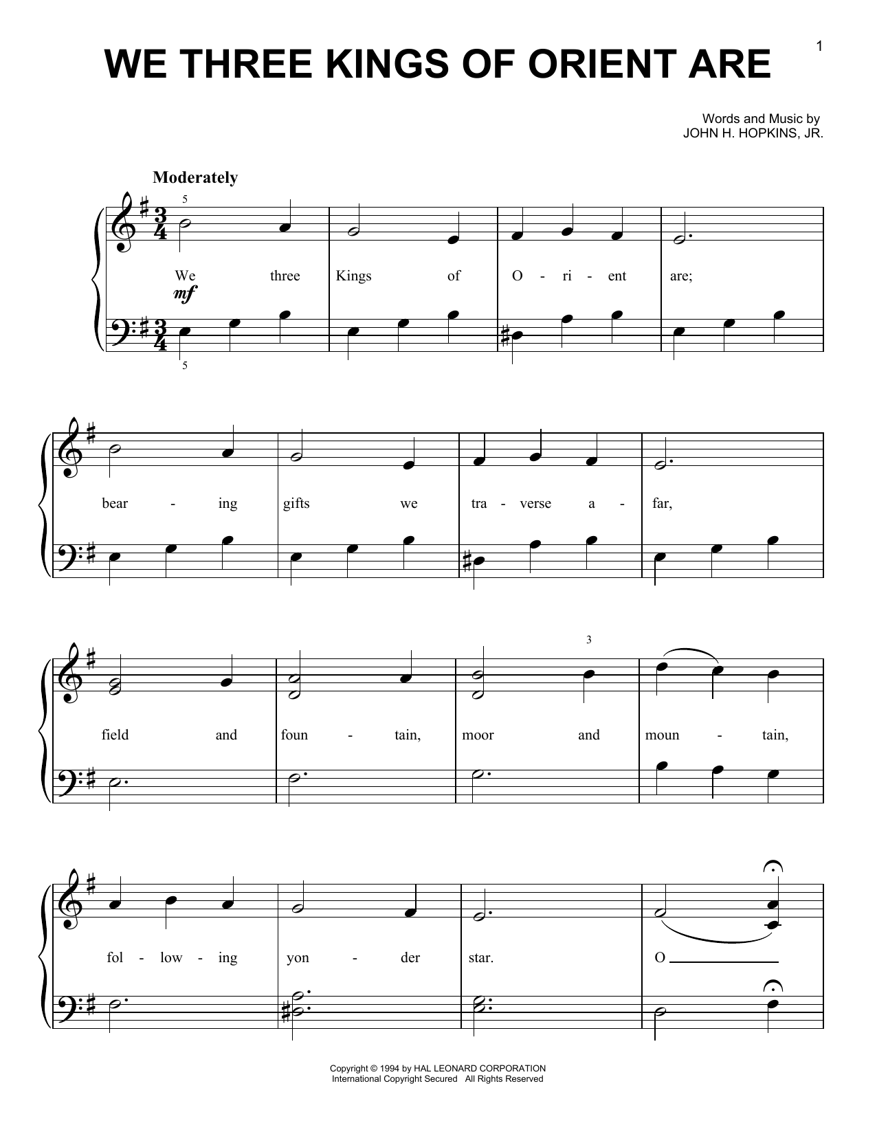 We Three Kings Of Orient Are (Very Easy Piano)