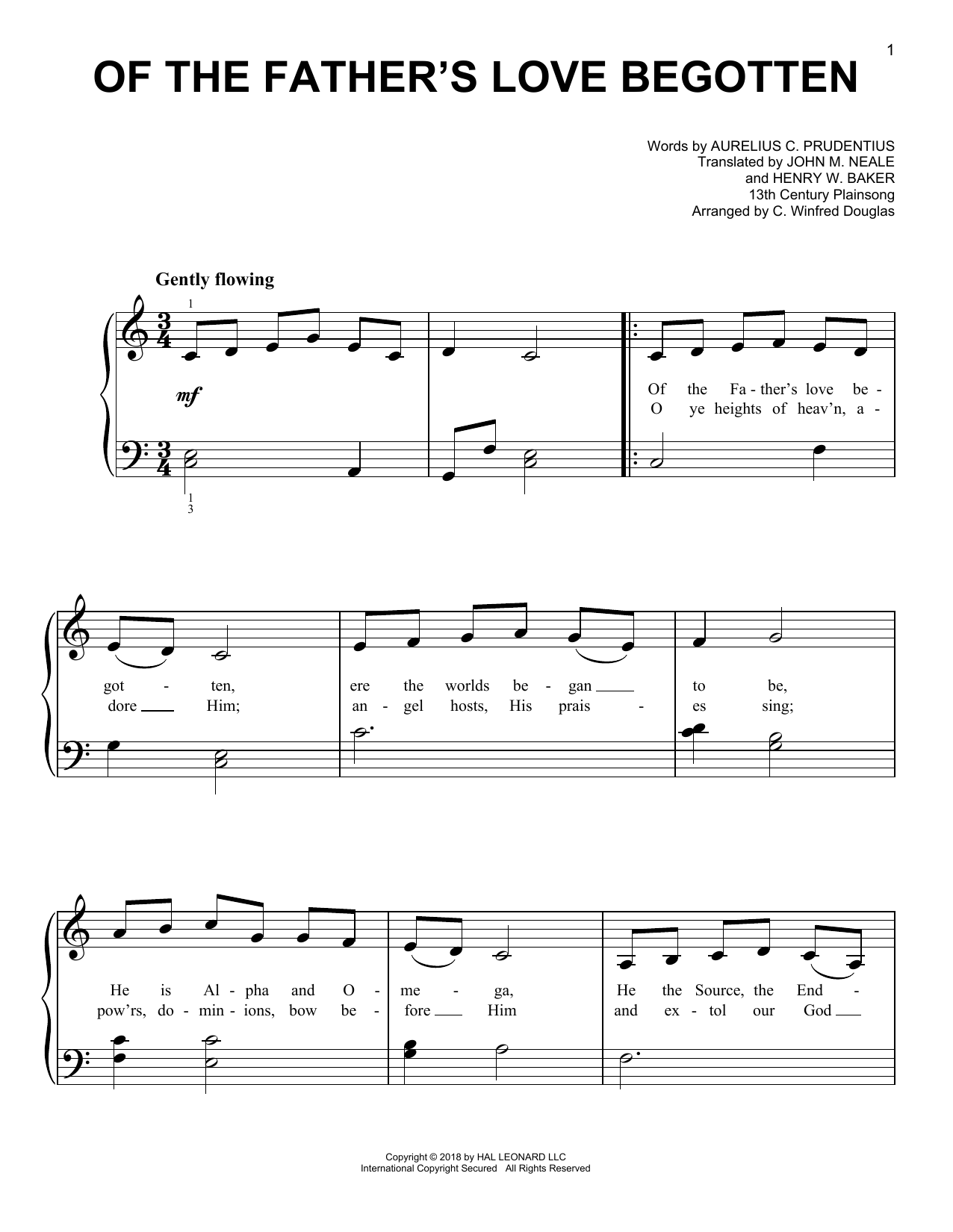 Of The Father's Love Begotten (Very Easy Piano)