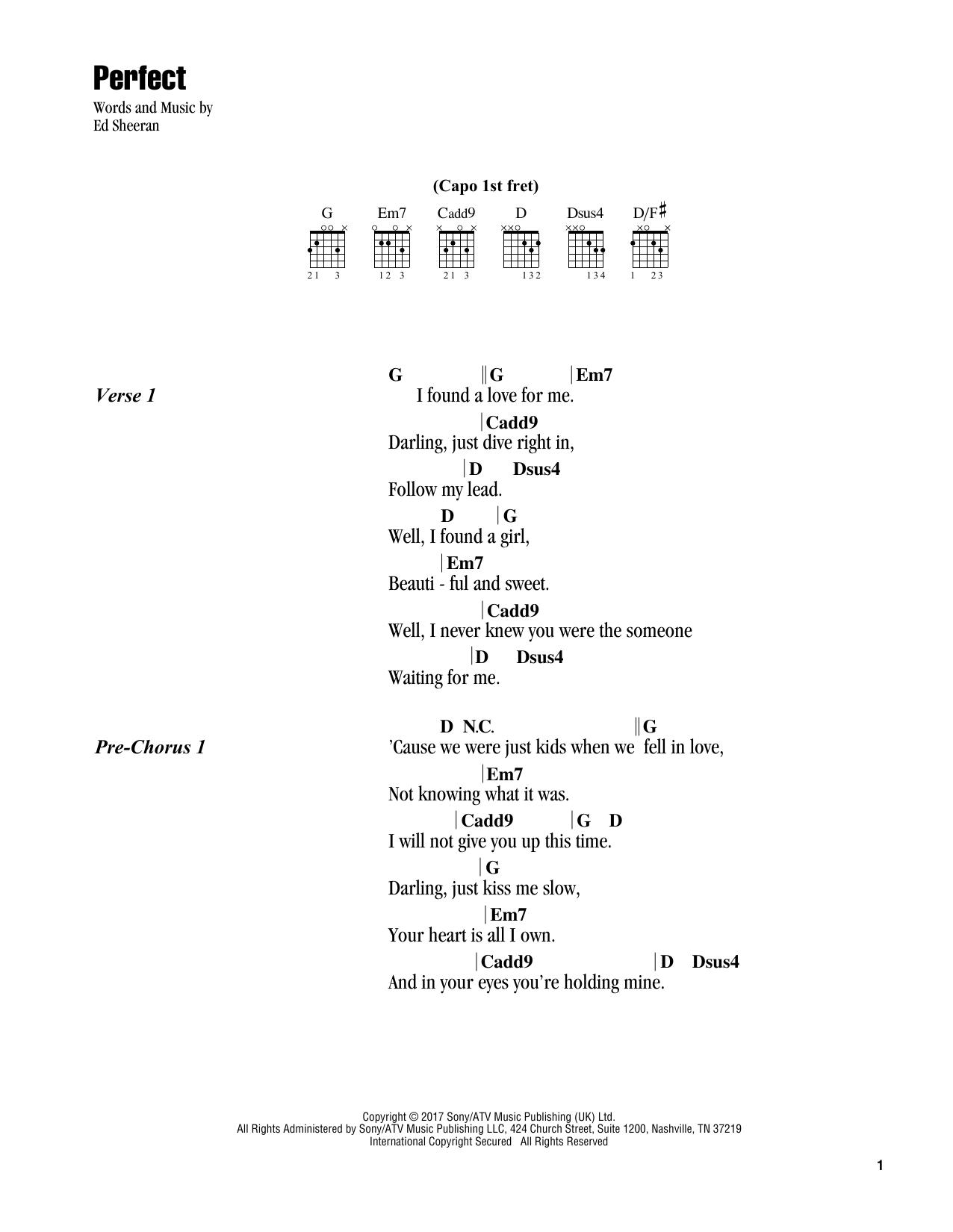 Perfect Sheet Music Ed Sheeran Guitar Chords Lyrics