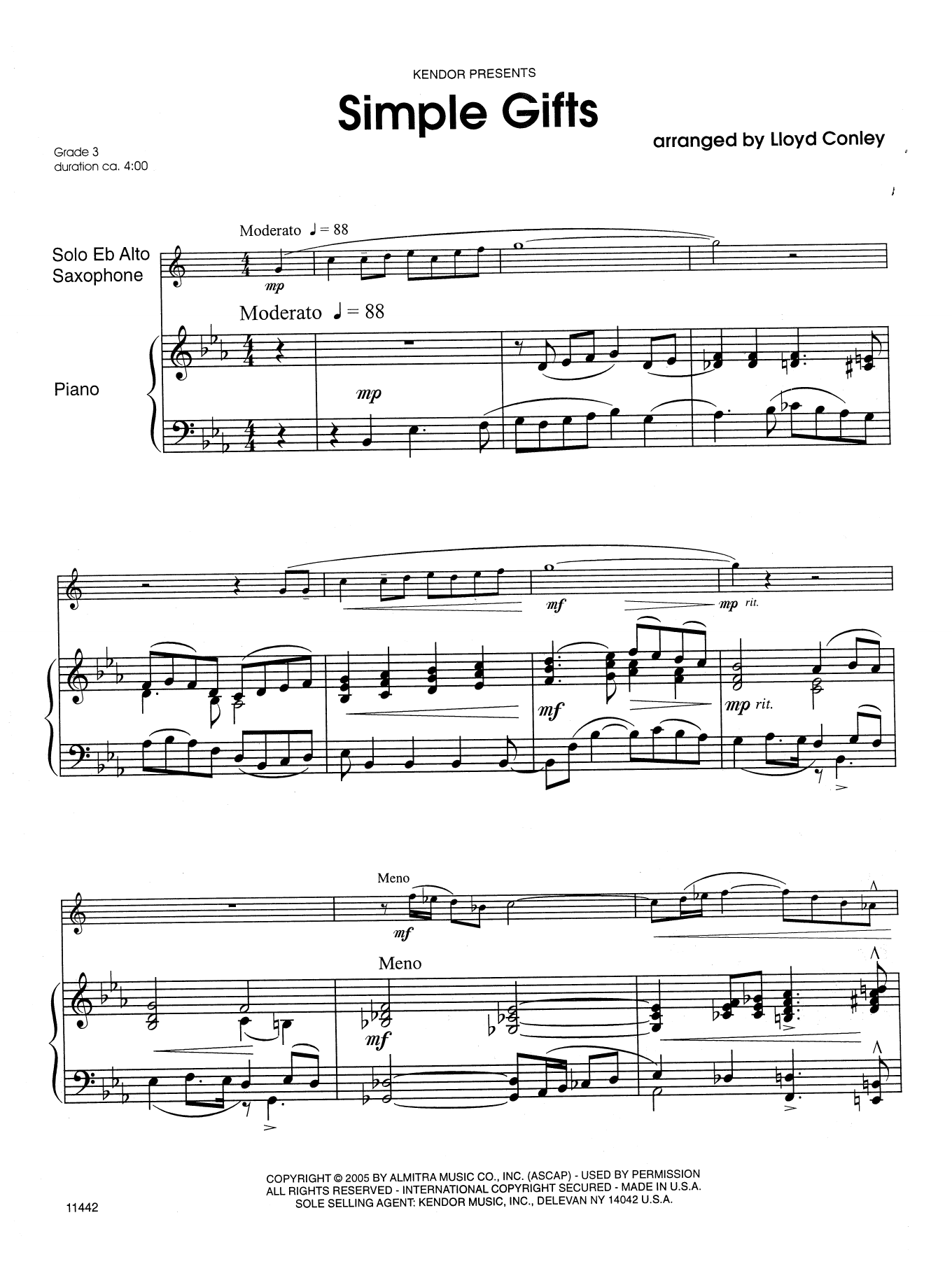 Simple Gifts - Piano Accompaniment by Lloyd Conley Woodwind Solo Digital  Sheet Music