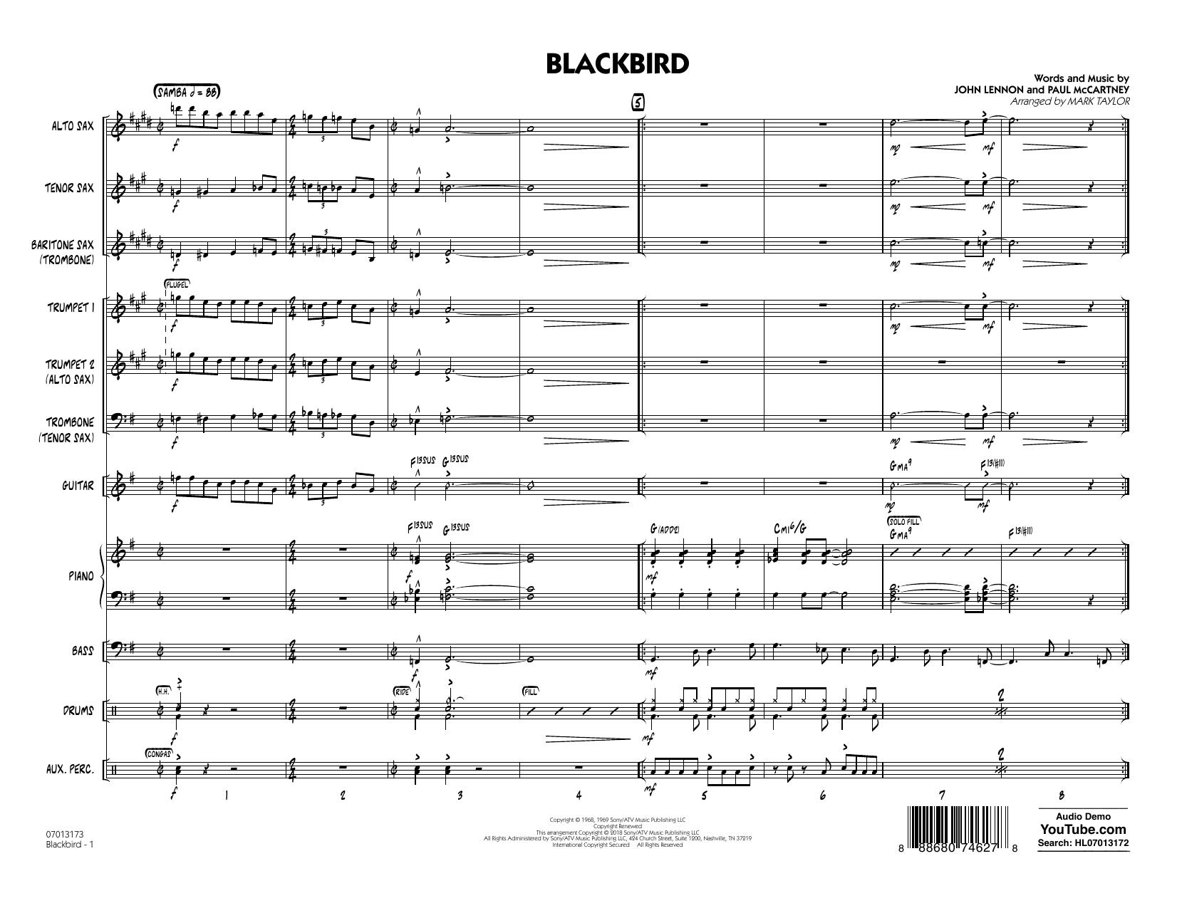 Blackbird - Full Score (Jazz Ensemble)