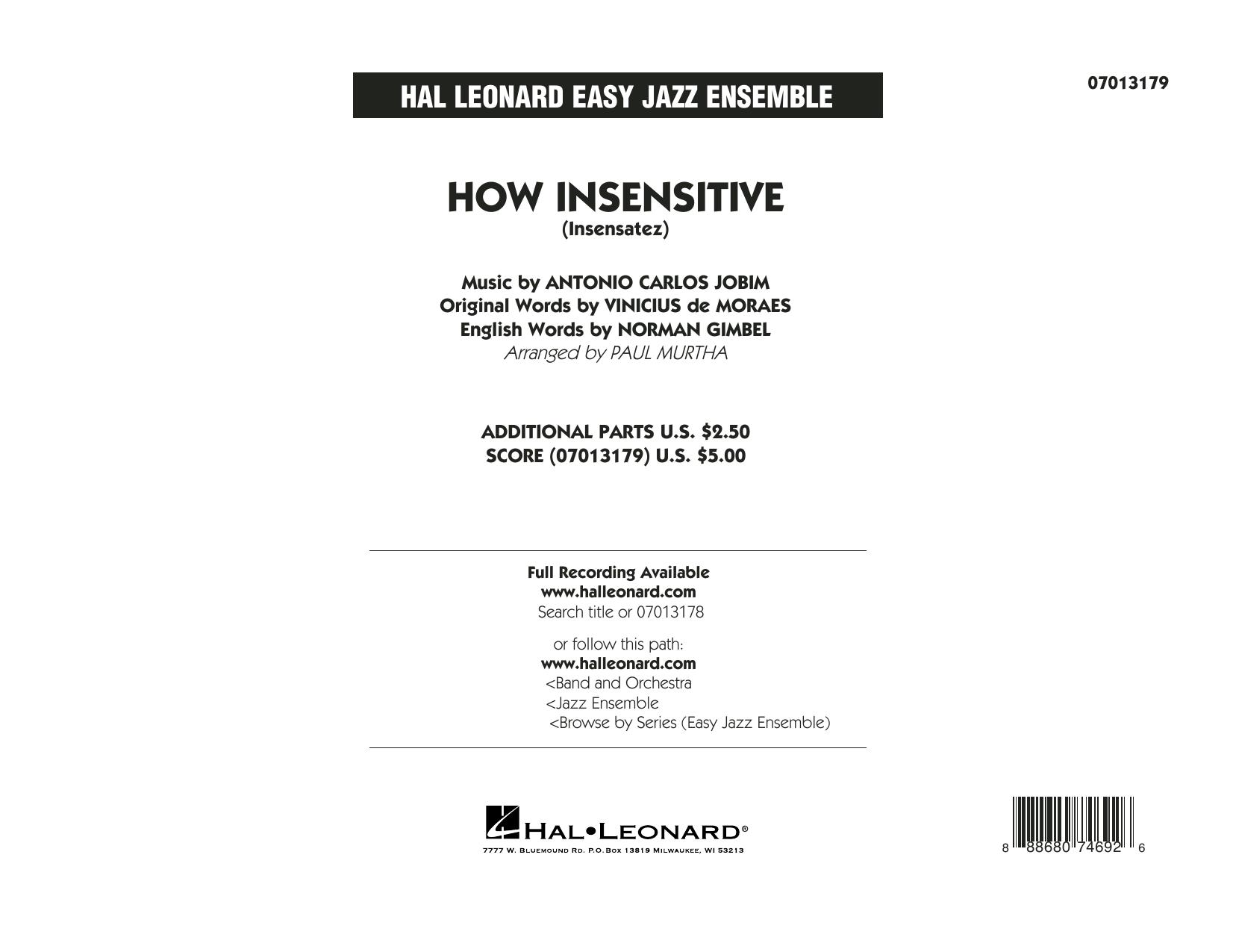 How Insensitive (Insensatez) - Conductor Score (Full Score) (Jazz Ensemble)