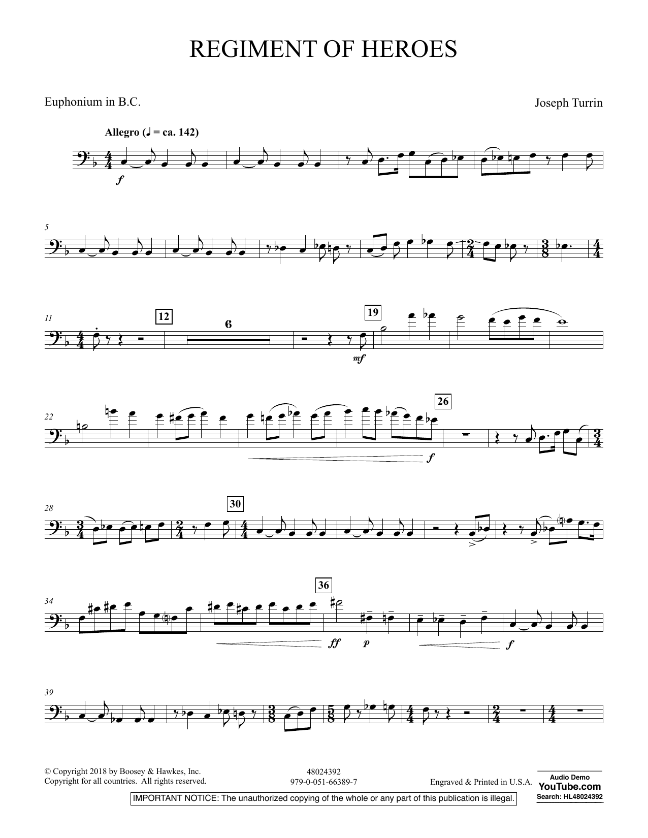 Regiment Of Heroes Windependence Artist Level - Euphonium in Bass Clef (Concert Band)