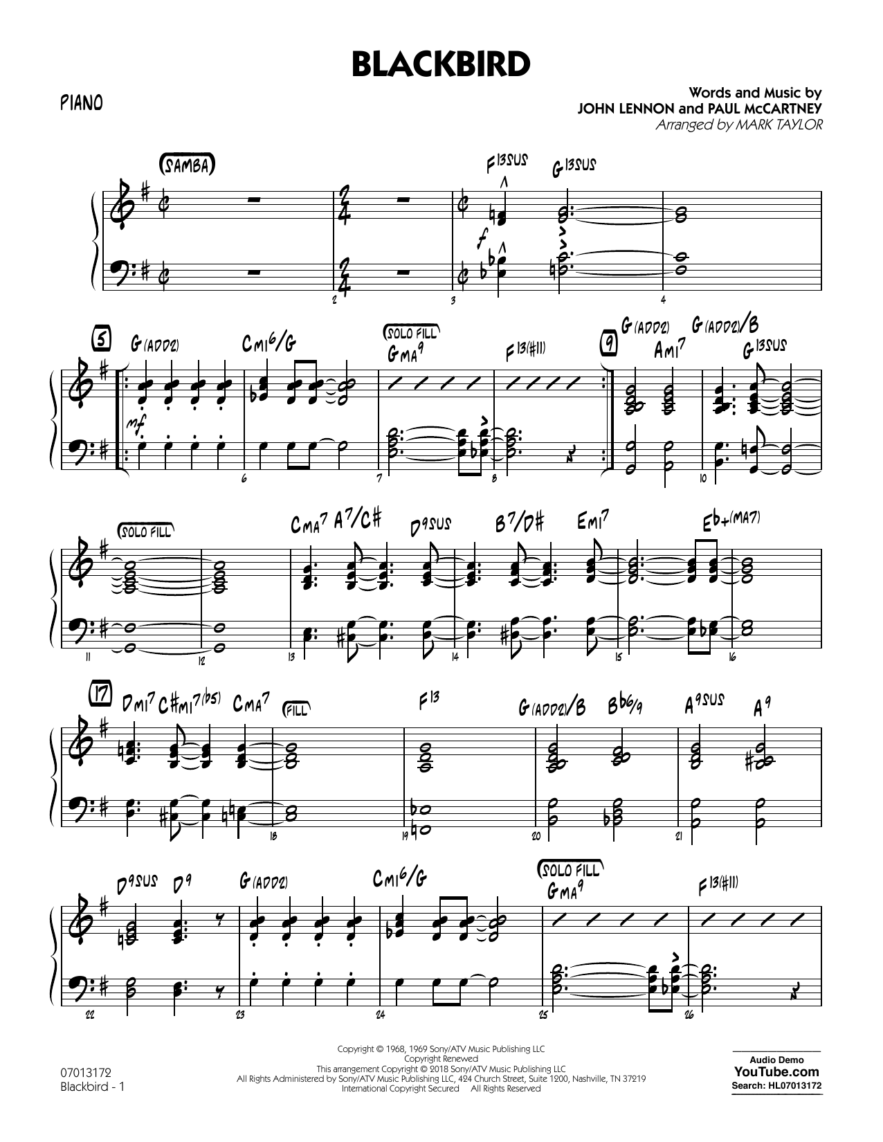 Blackbird - Piano by Mark Taylor Jazz Ensemble Digital Sheet Music