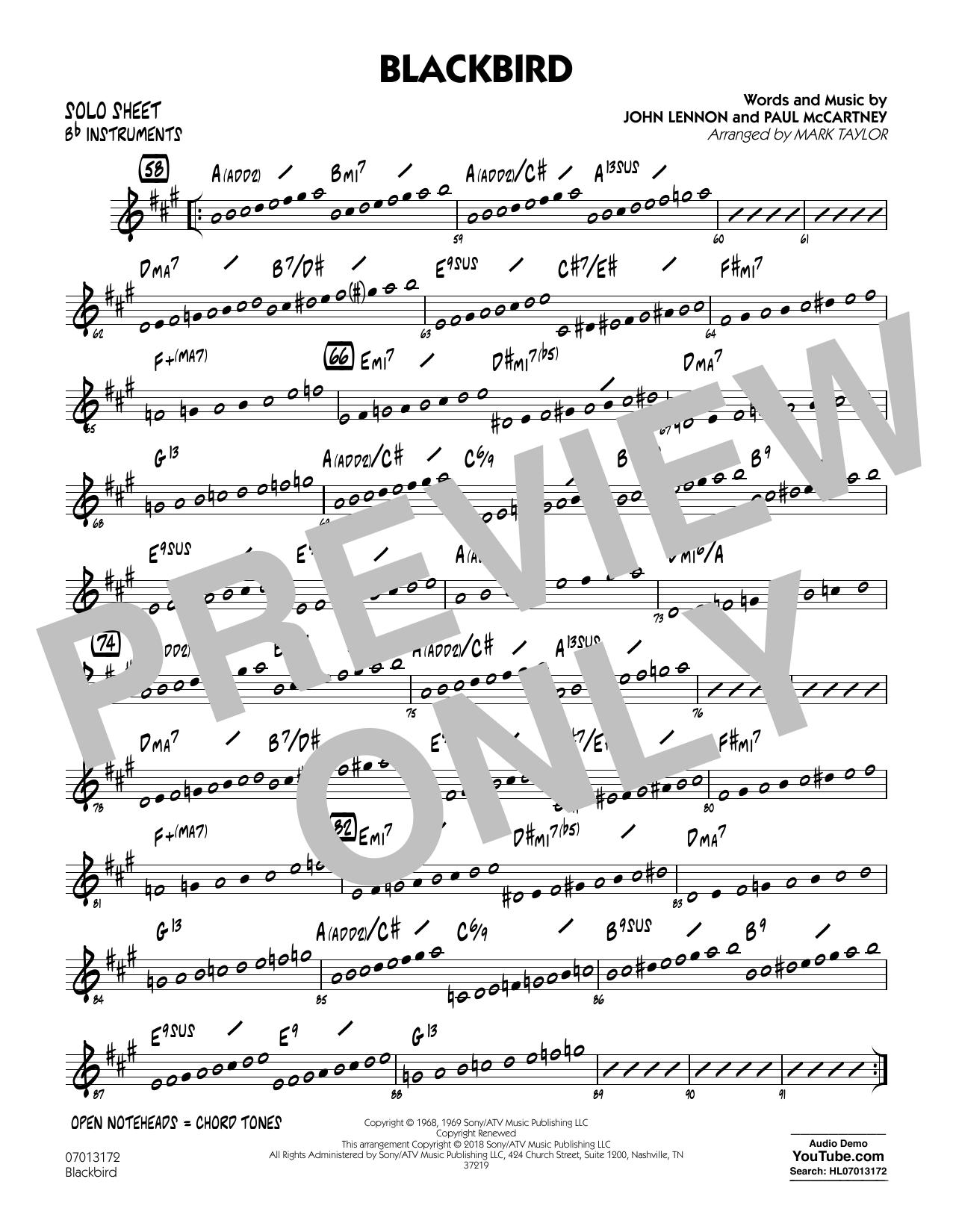 Blackbird - Bb Solo Sheet (Jazz Ensemble)
