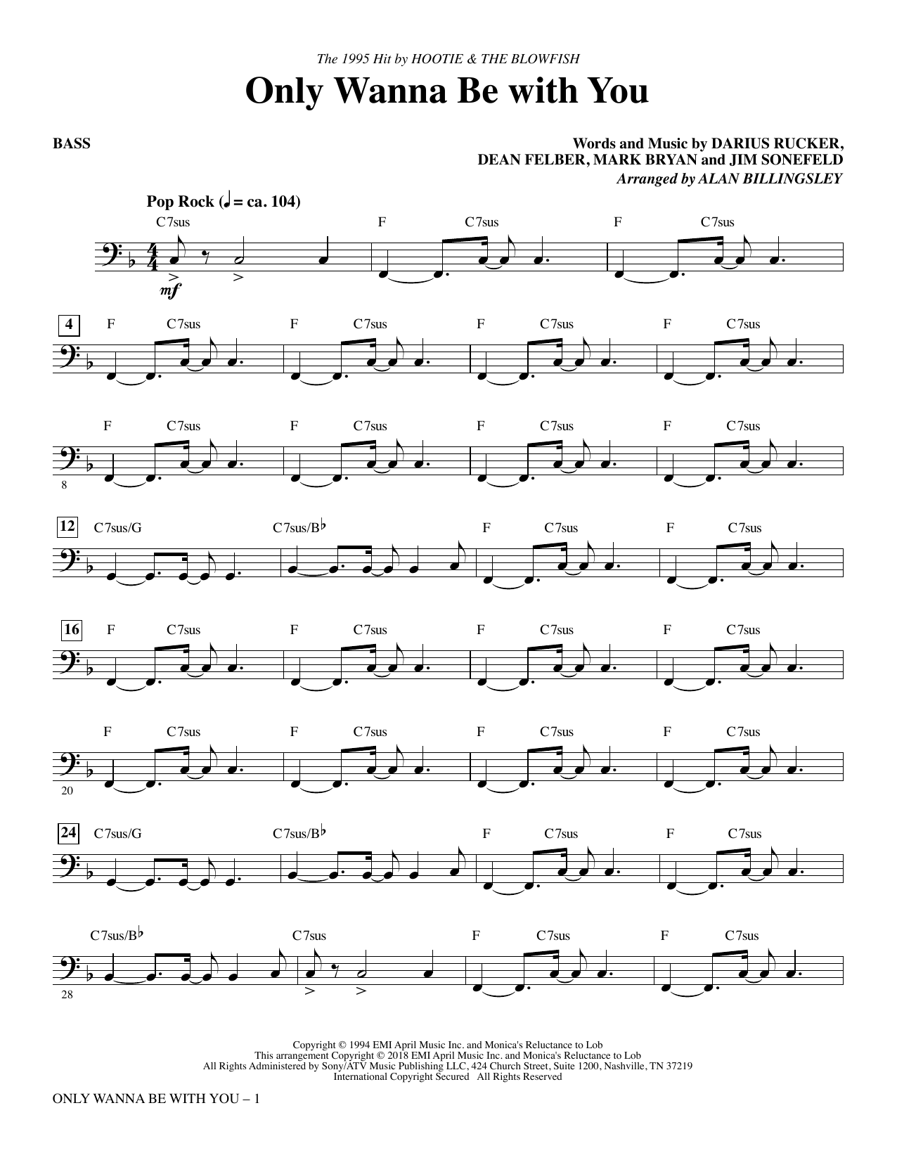 Only Wanna Be with You - Bass (Choir Instrumental Pak)