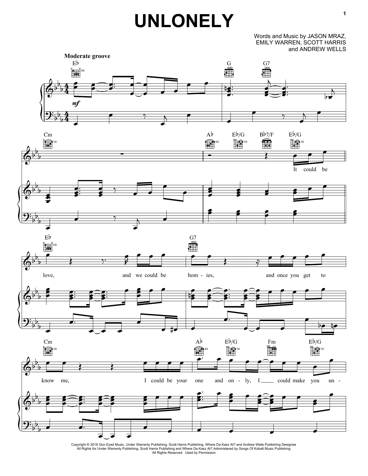 Unlonely (Piano, Vocal & Guitar (Right-Hand Melody))