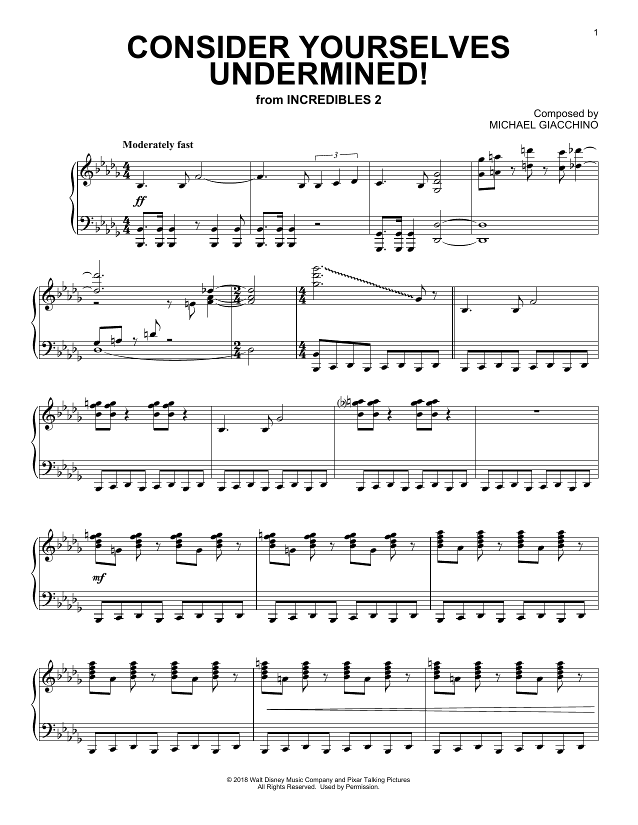 Consider Yourself Underminded! (from The Incredibles 2) (Piano Solo)
