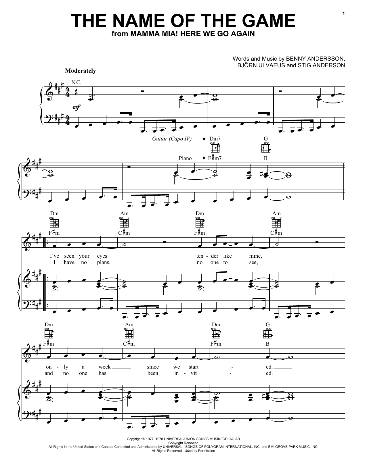 The Name Of The Game (from Mamma Mia! Here We Go Again) (Piano, Vocal & Guitar (Right-Hand Melody))