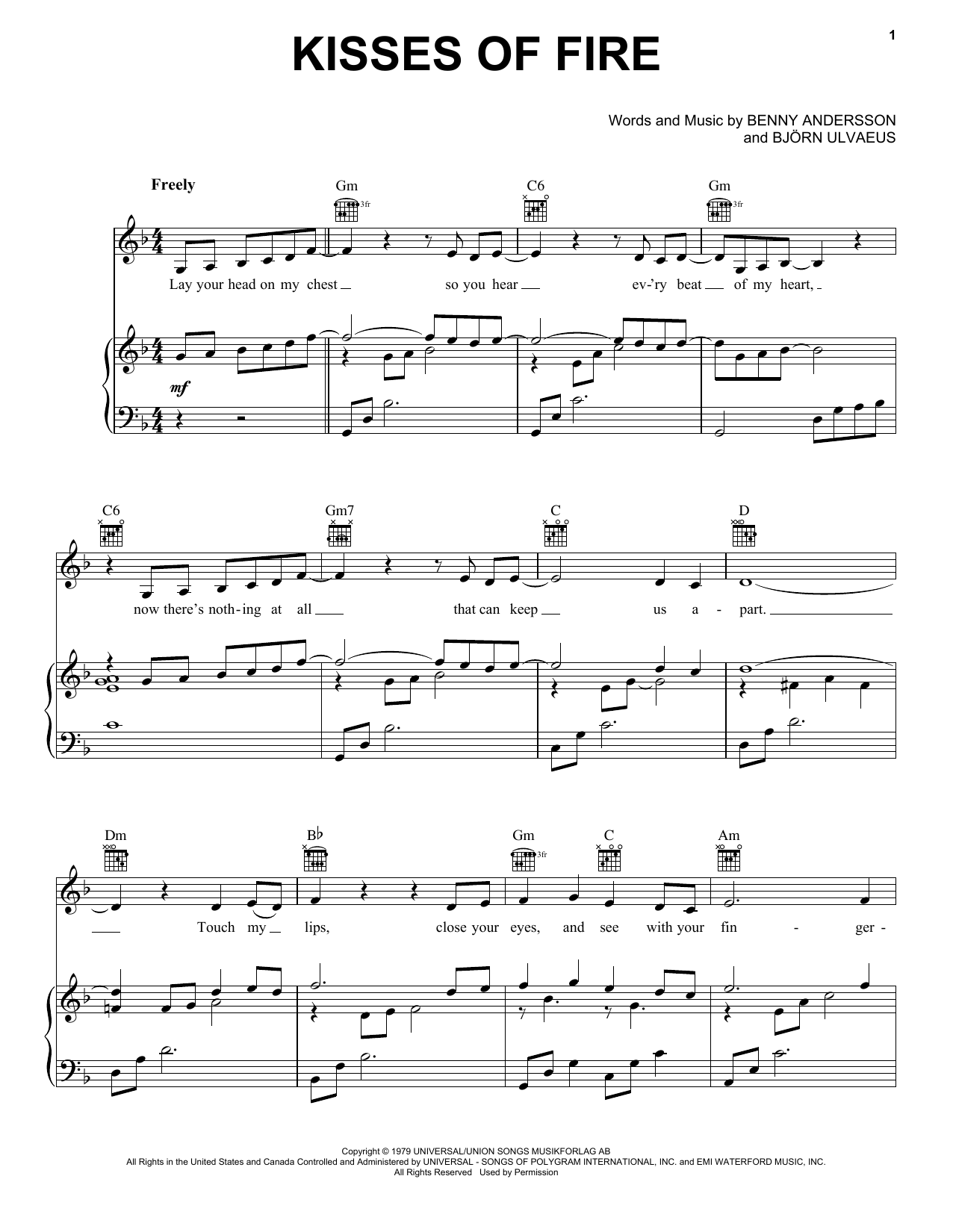Kisses Of Fire (from Mamma Mia! Here We Go Again) (Piano, Vocal & Guitar (Right-Hand Melody))
