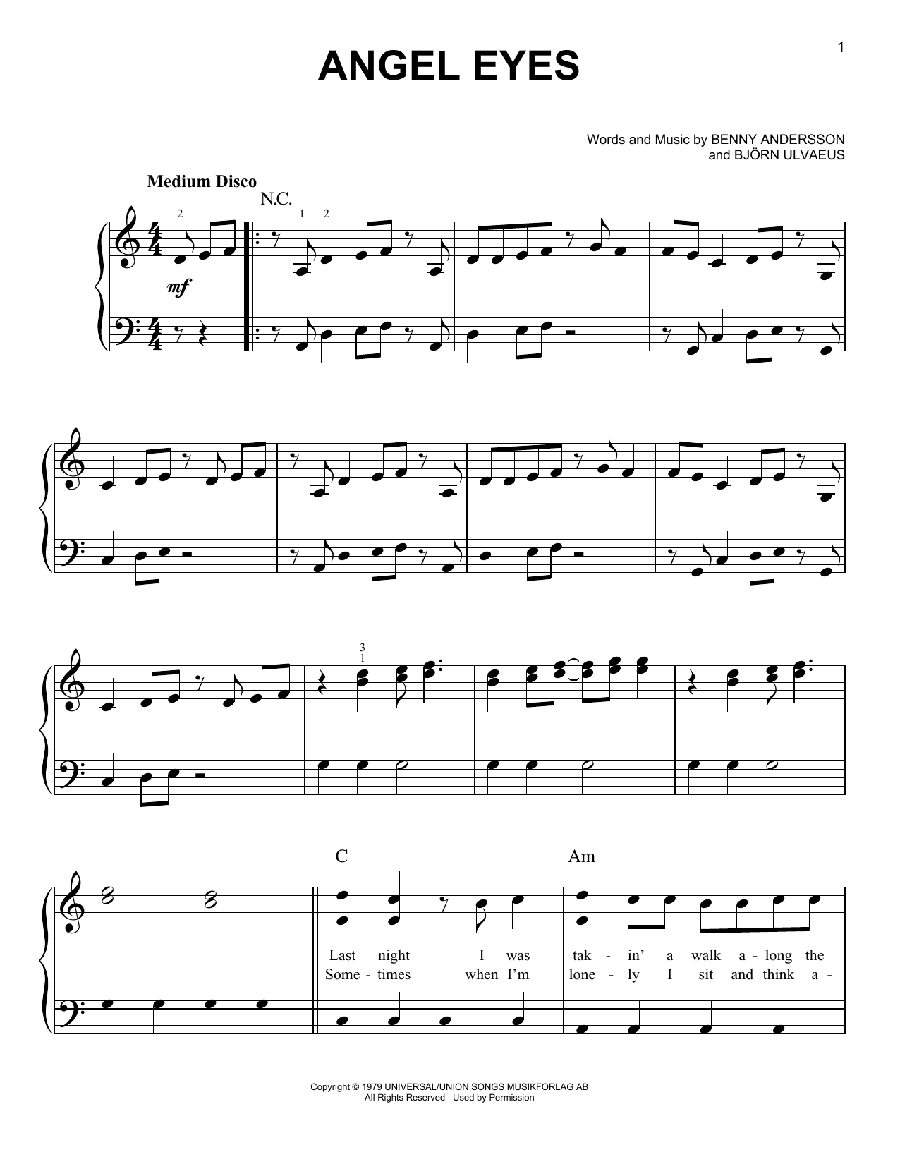 Angeleyes (from Mamma Mia! Here We Go Again) (Easy Piano)