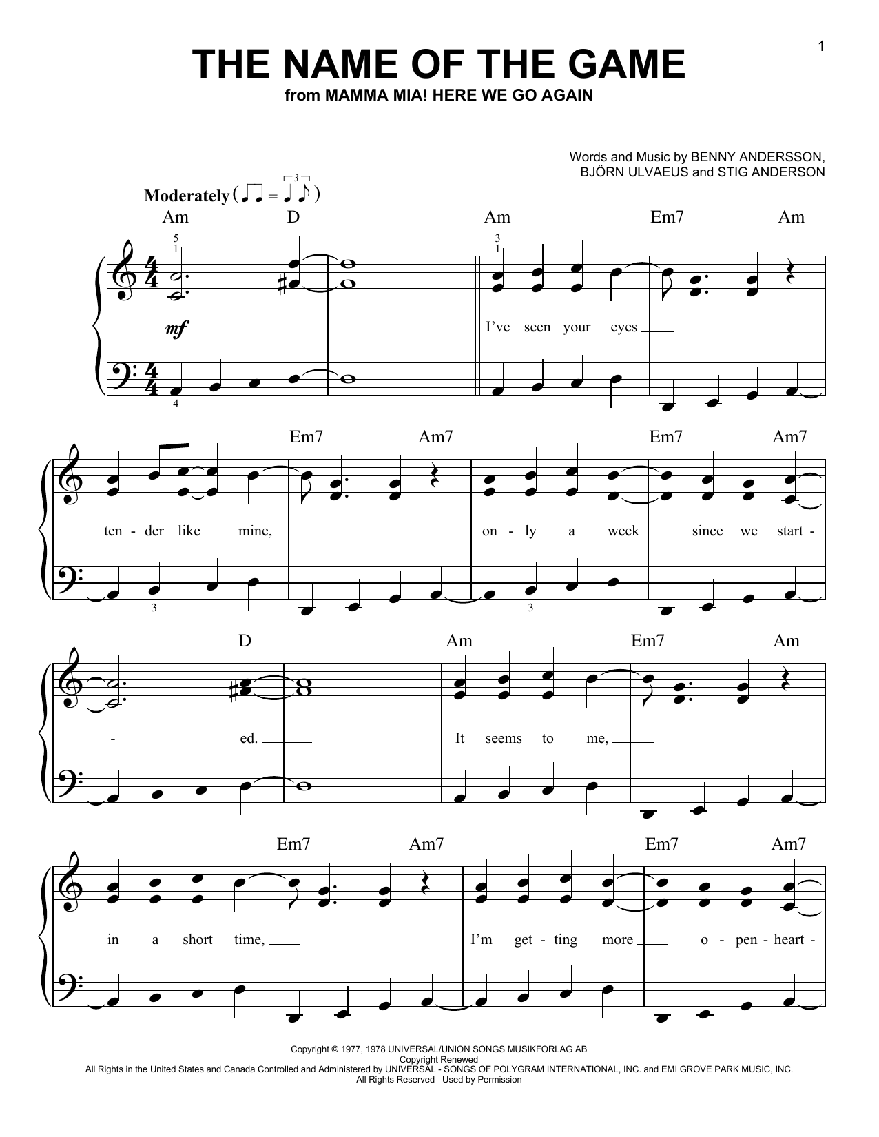 The Name Of The Game (from Mamma Mia! Here We Go Again) (Easy Piano)