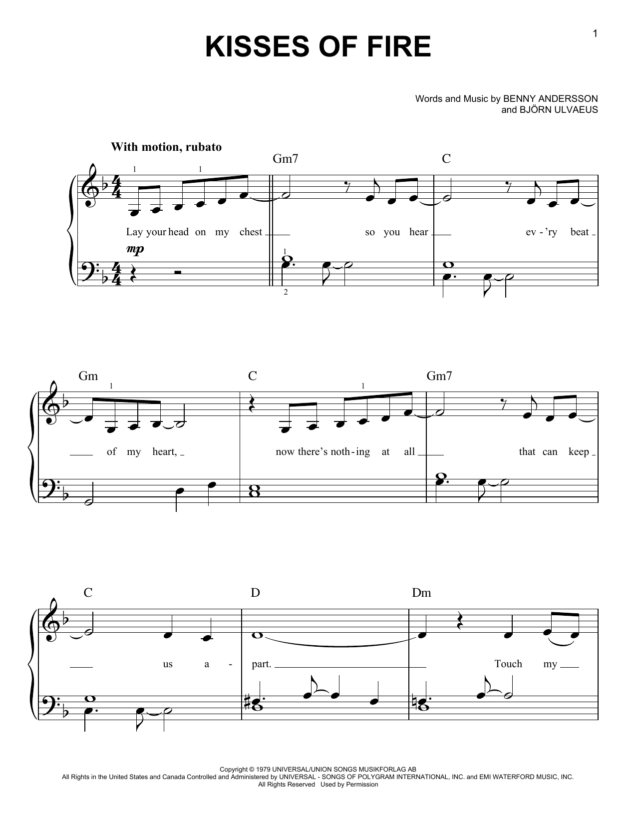 Kisses Of Fire (from Mamma Mia! Here We Go Again) (Easy Piano)