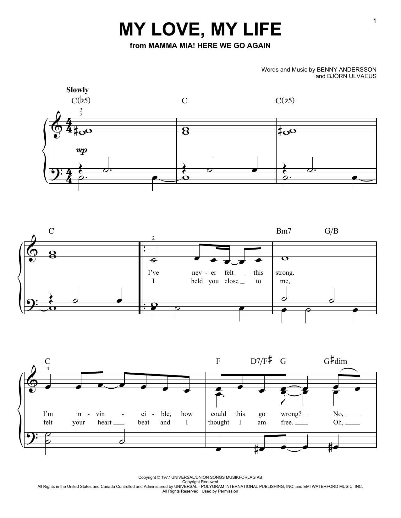 My Love, My Life (from Mamma Mia! Here We Go Again) (Easy Piano)