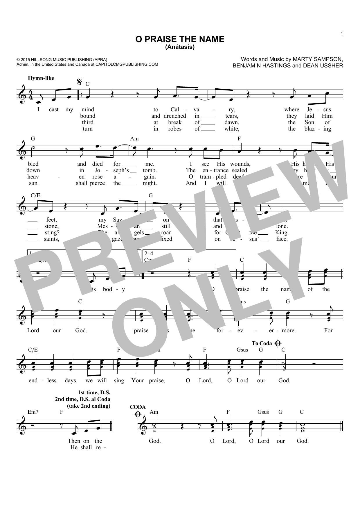 O Praise The Name (Anastasis) (Lead Sheet / Fake Book)