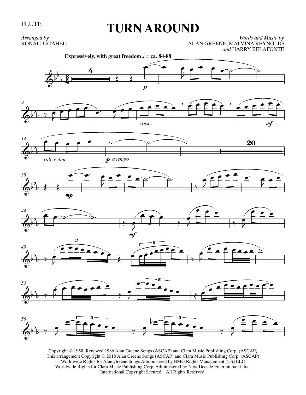 Turn Around (arr. Ronald Staheli) - Flute (Choir Instrumental Pak)