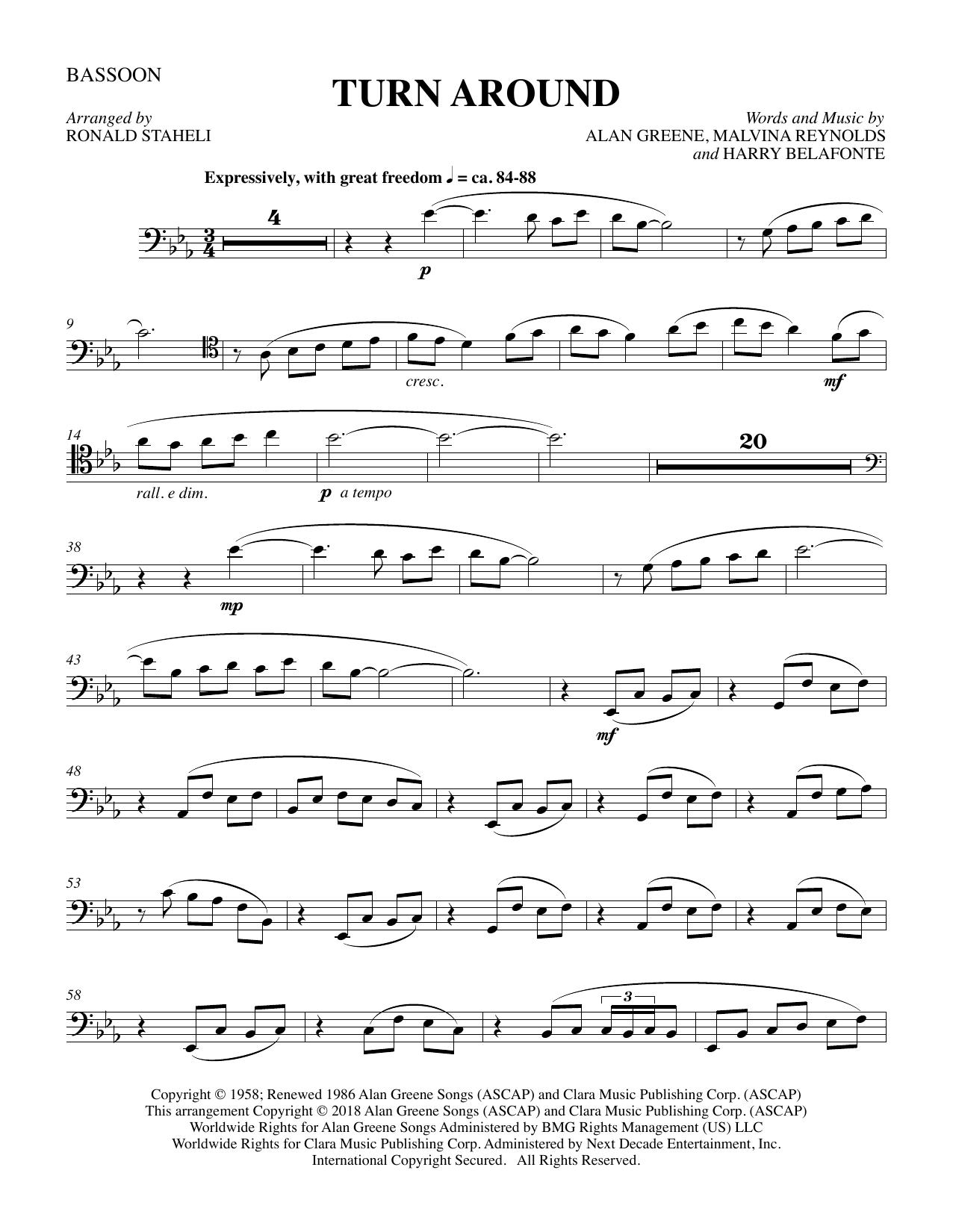 Turn Around (arr. Ronald Staheli) - Bassoon (Choir Instrumental Pak)