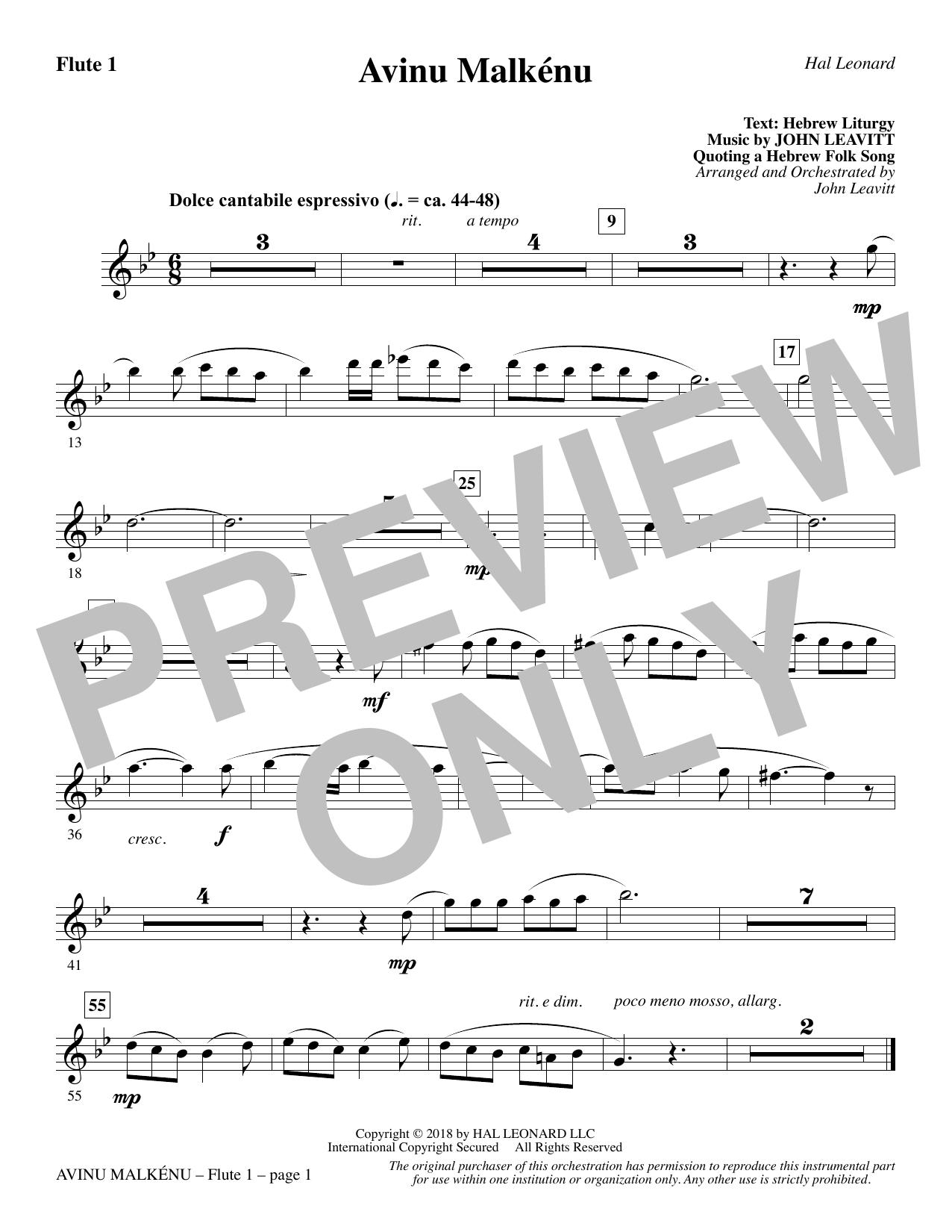 Avinu Malkénu - Flute 1 (Choir Instrumental Pak)