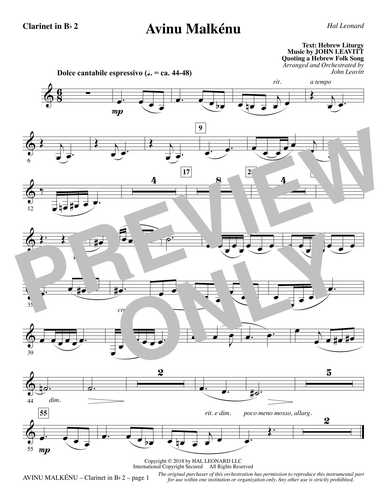 Avinu Malkénu - Bb Clarinet 2 (Choir Instrumental Pak)
