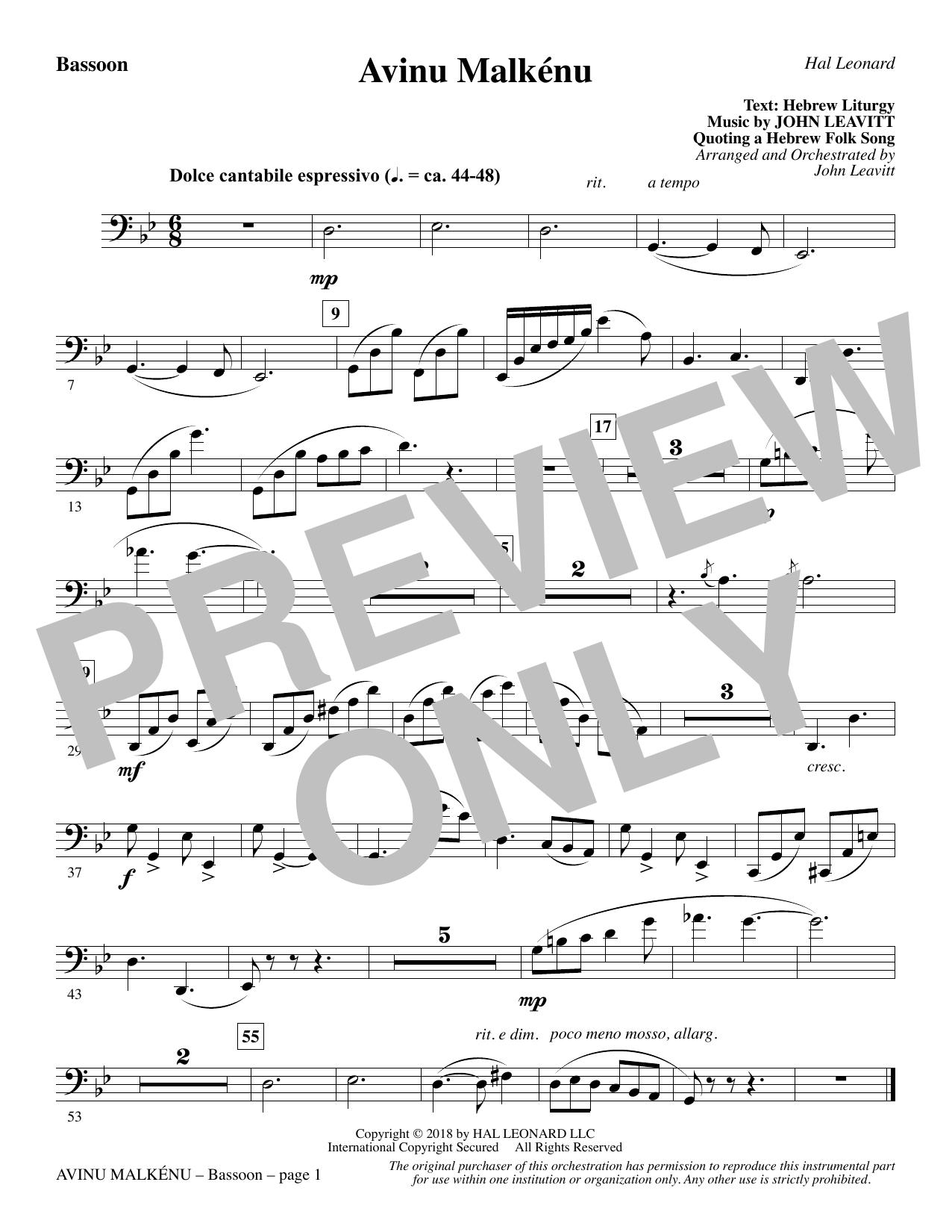 Avinu Malkénu - Bassoon (Choir Instrumental Pak)