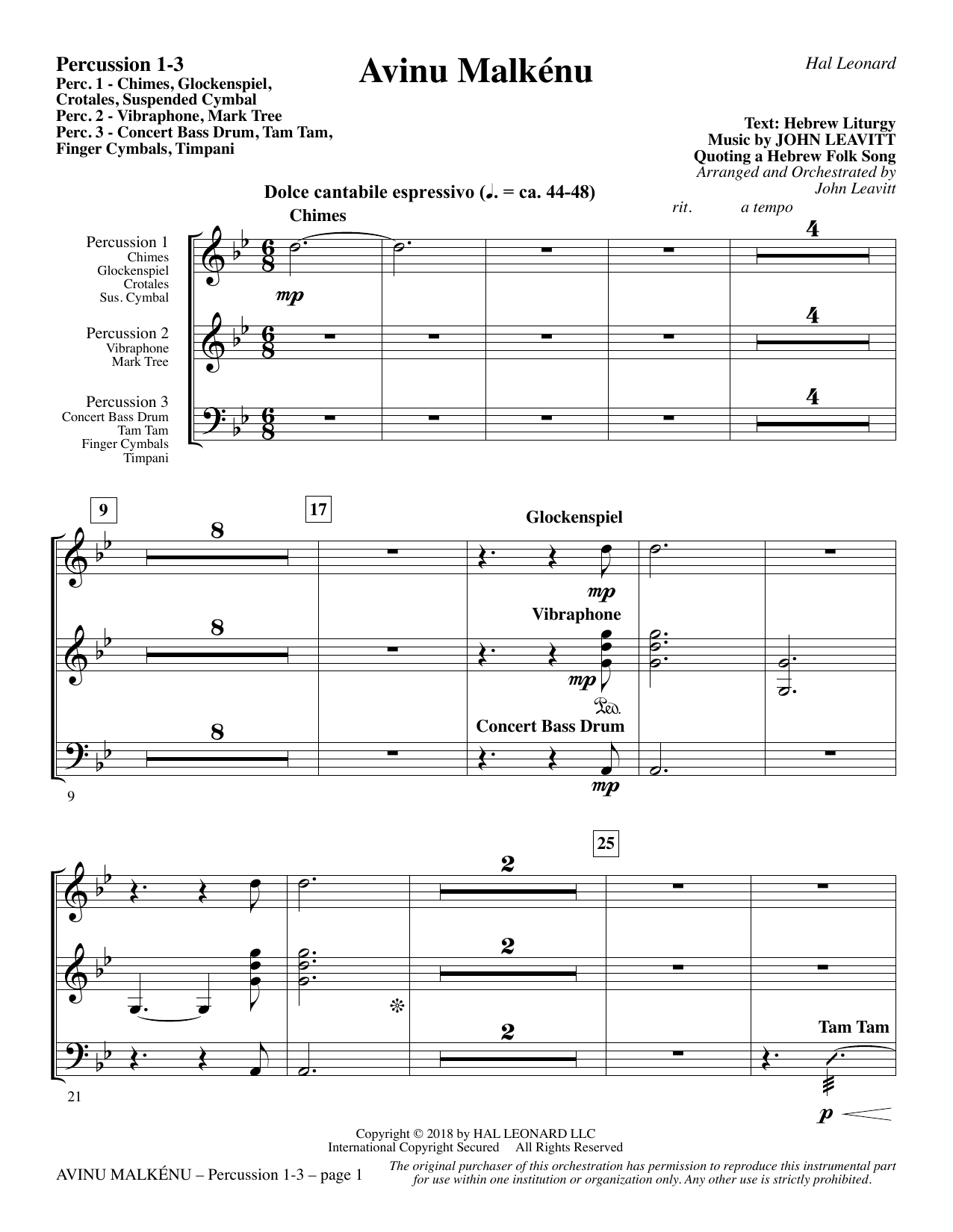 Avinu Malkénu - Percussion 1-3 (Choir Instrumental Pak)