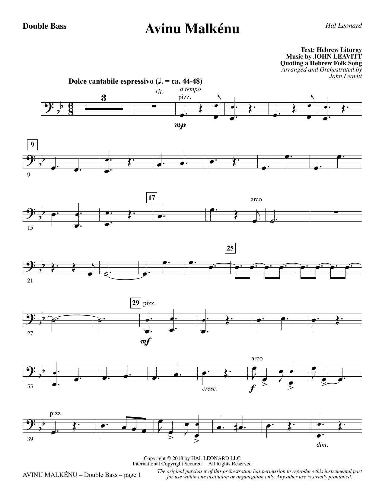 Avinu Malkénu - Double Bass (Choir Instrumental Pak)