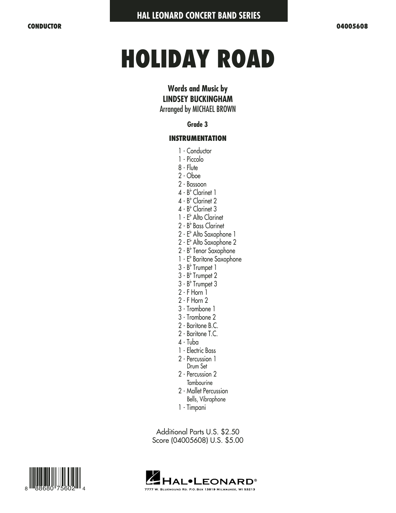 Holiday Road (from National Lampoon's Vacation) (arr. Michael Brown) - Conductor Score (Full Score) (Concert Band)