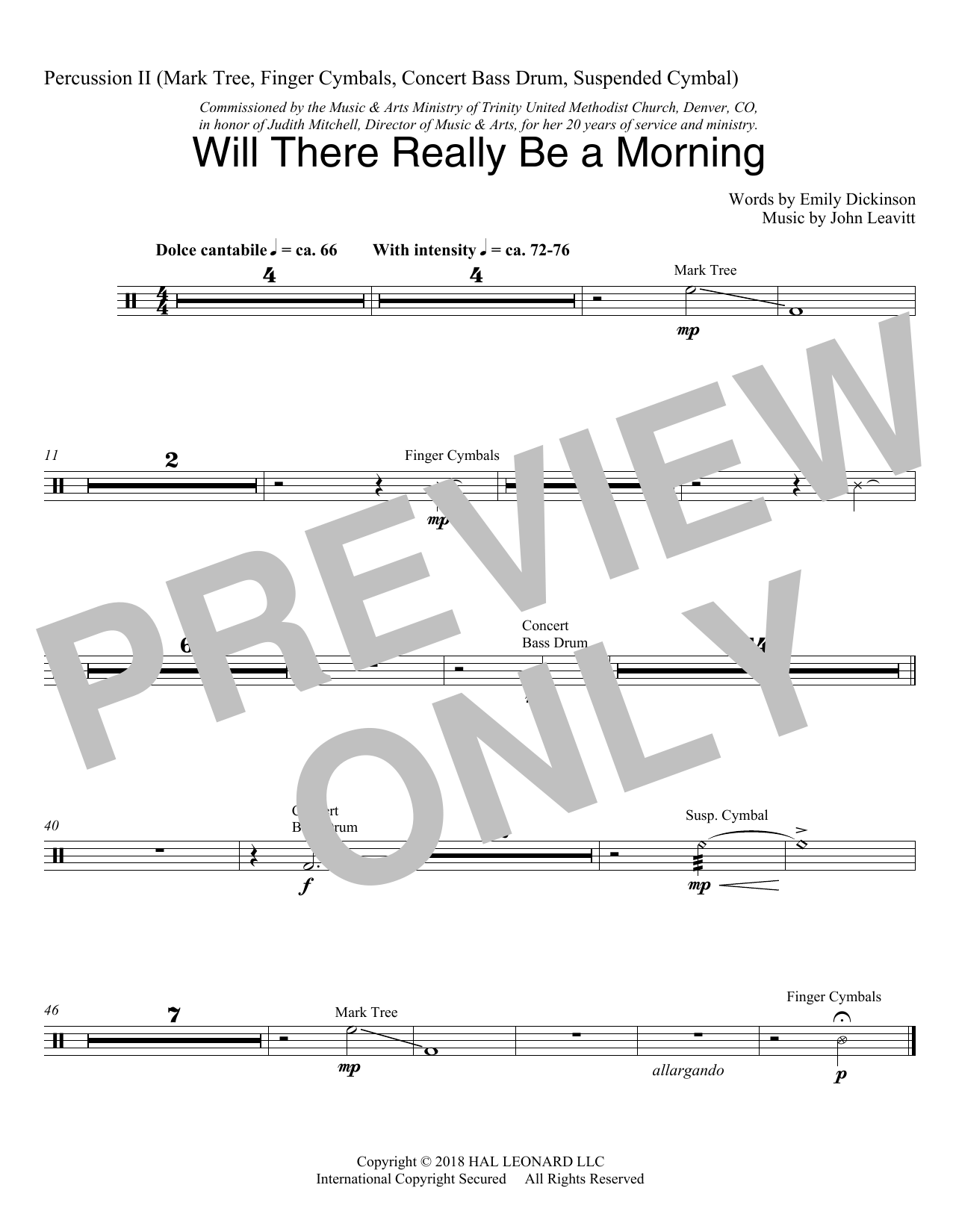 Will There Really Be A Morning - Percussion 2 (Choir Instrumental Pak)