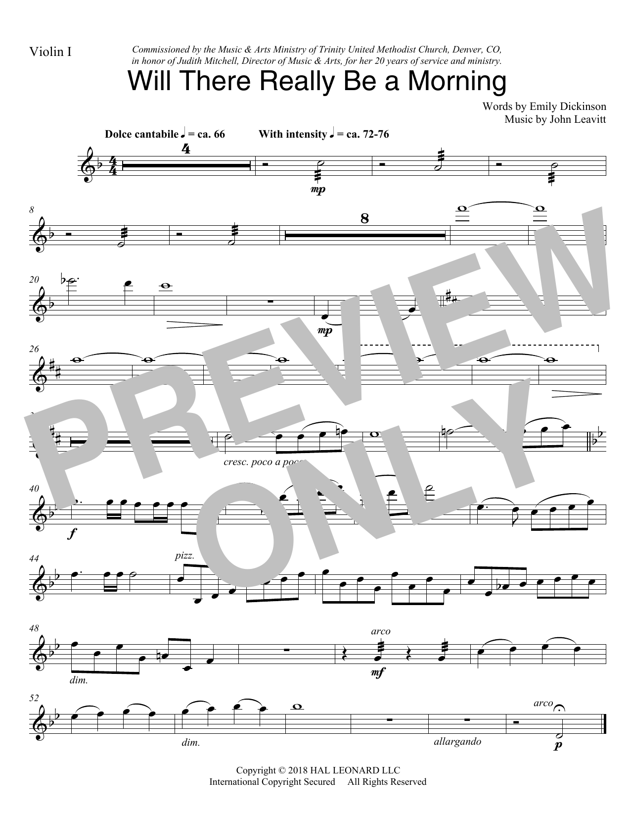 Will There Really Be A Morning - Violin 1 (Choir Instrumental Pak)