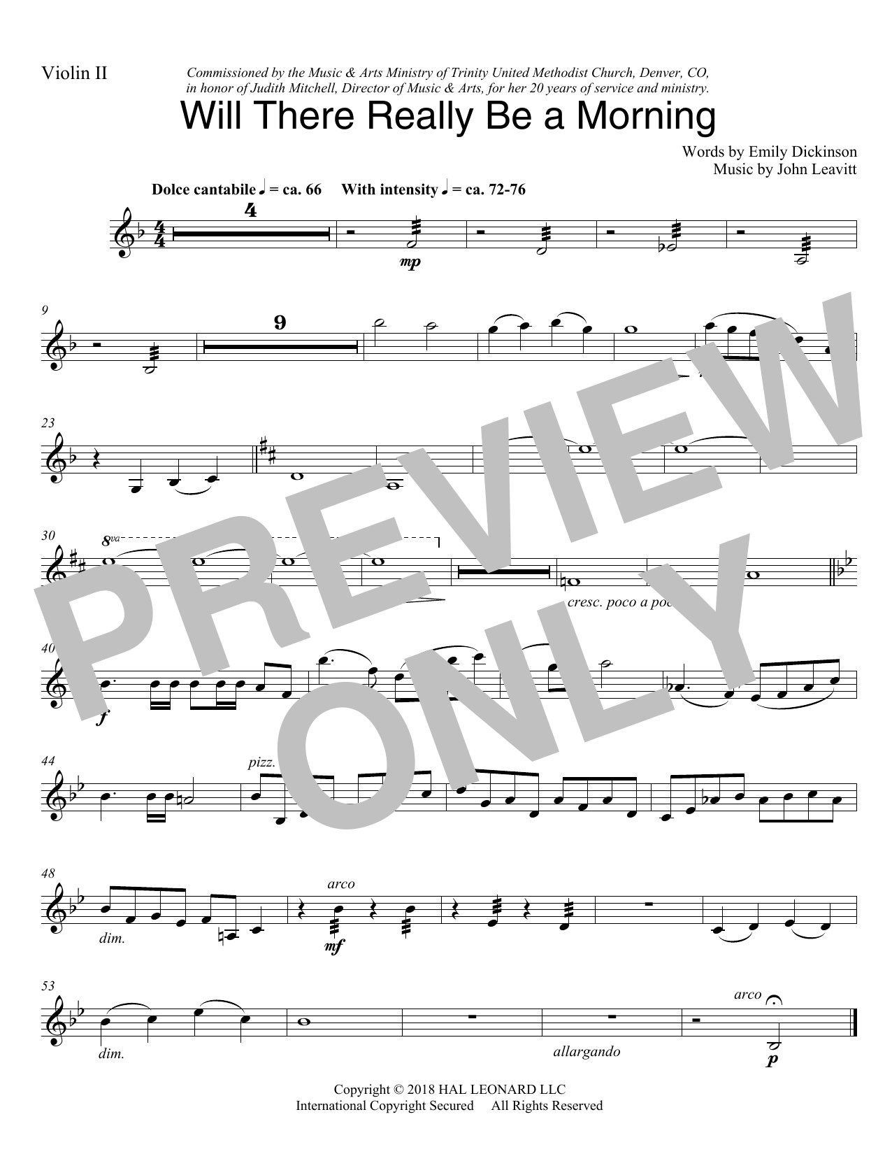 Will There Really Be A Morning - Violin 2 (Choir Instrumental Pak)