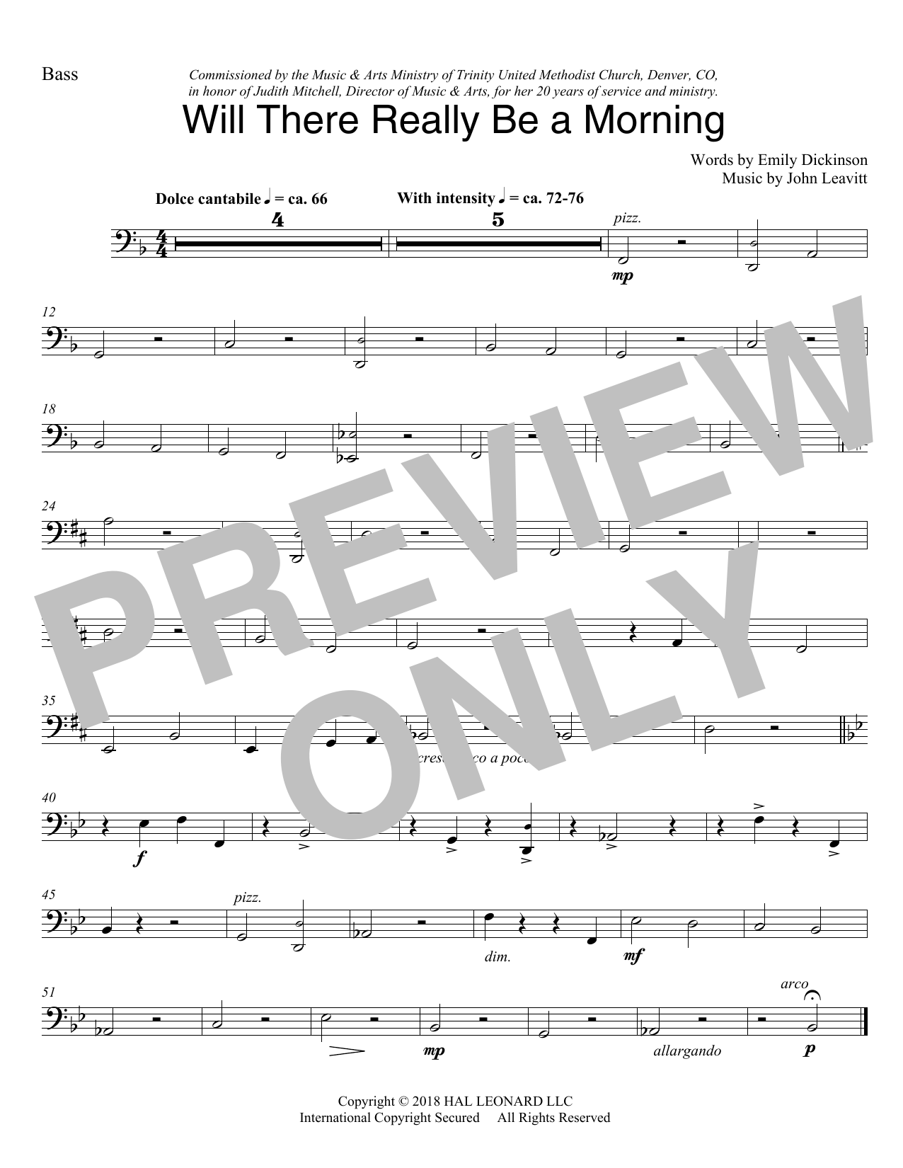 Will There Really Be A Morning - Double Bass (Choir Instrumental Pak)