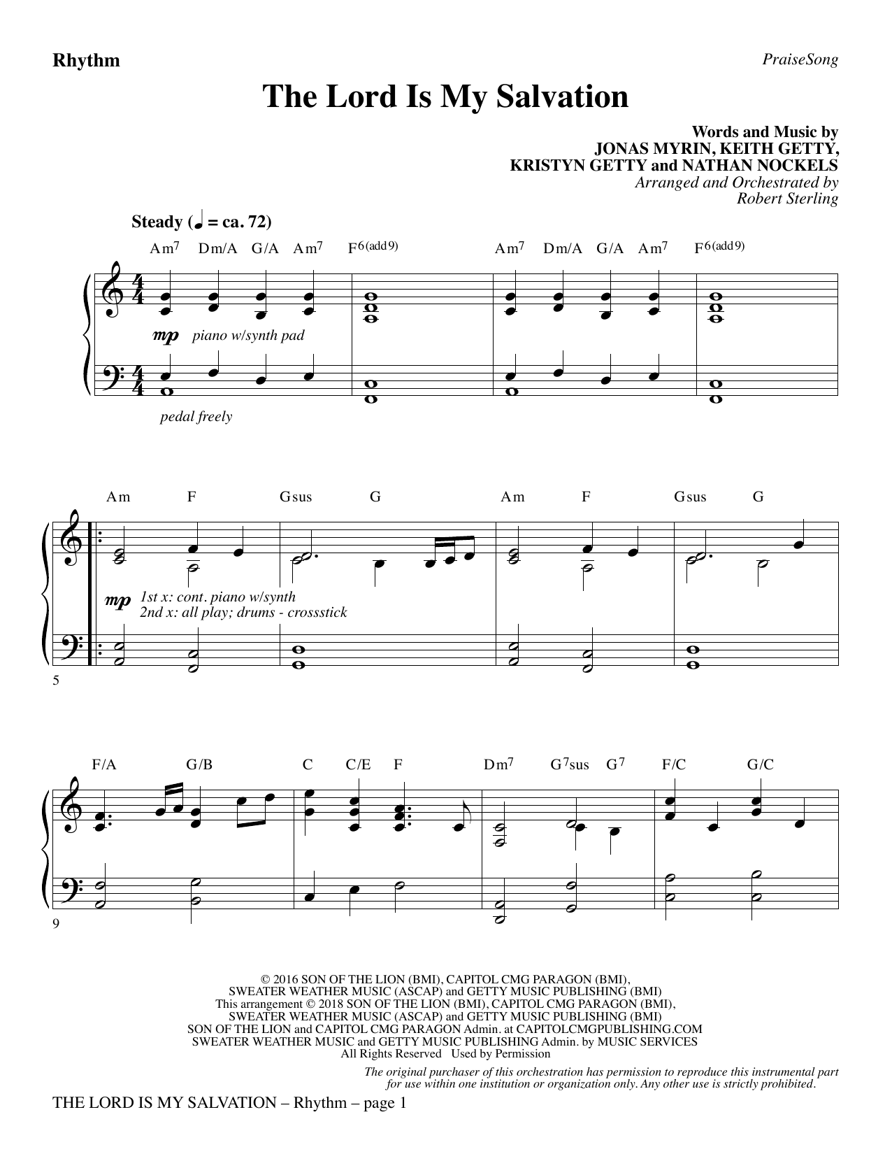 The Lord Is My Salvation - Rhythm (Choir Instrumental Pak)