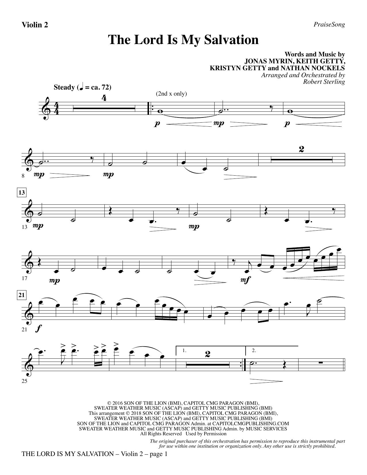 The Lord Is My Salvation - Violin 2 (Choir Instrumental Pak)