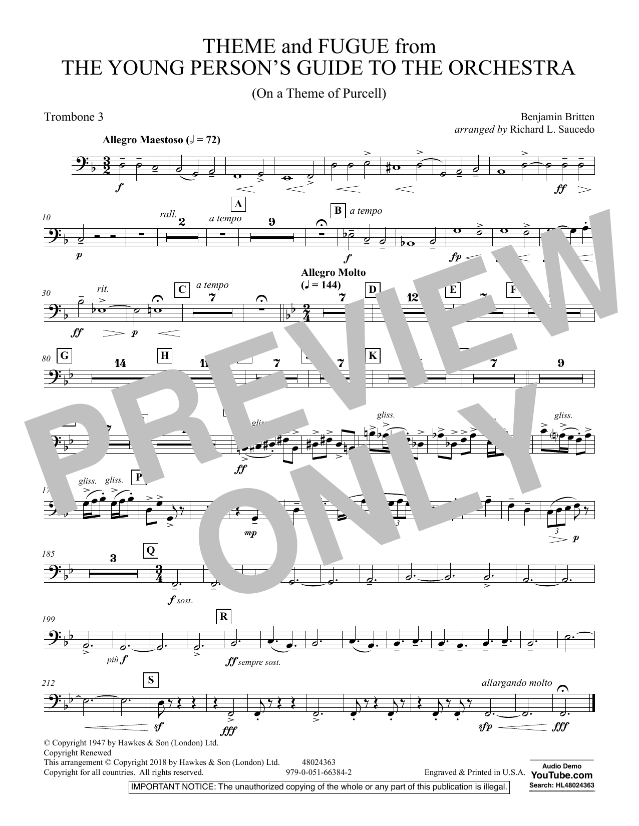 Theme and Fugue from The Young Person's Guide to the Orchestra - Trombone 3 (Concert Band)