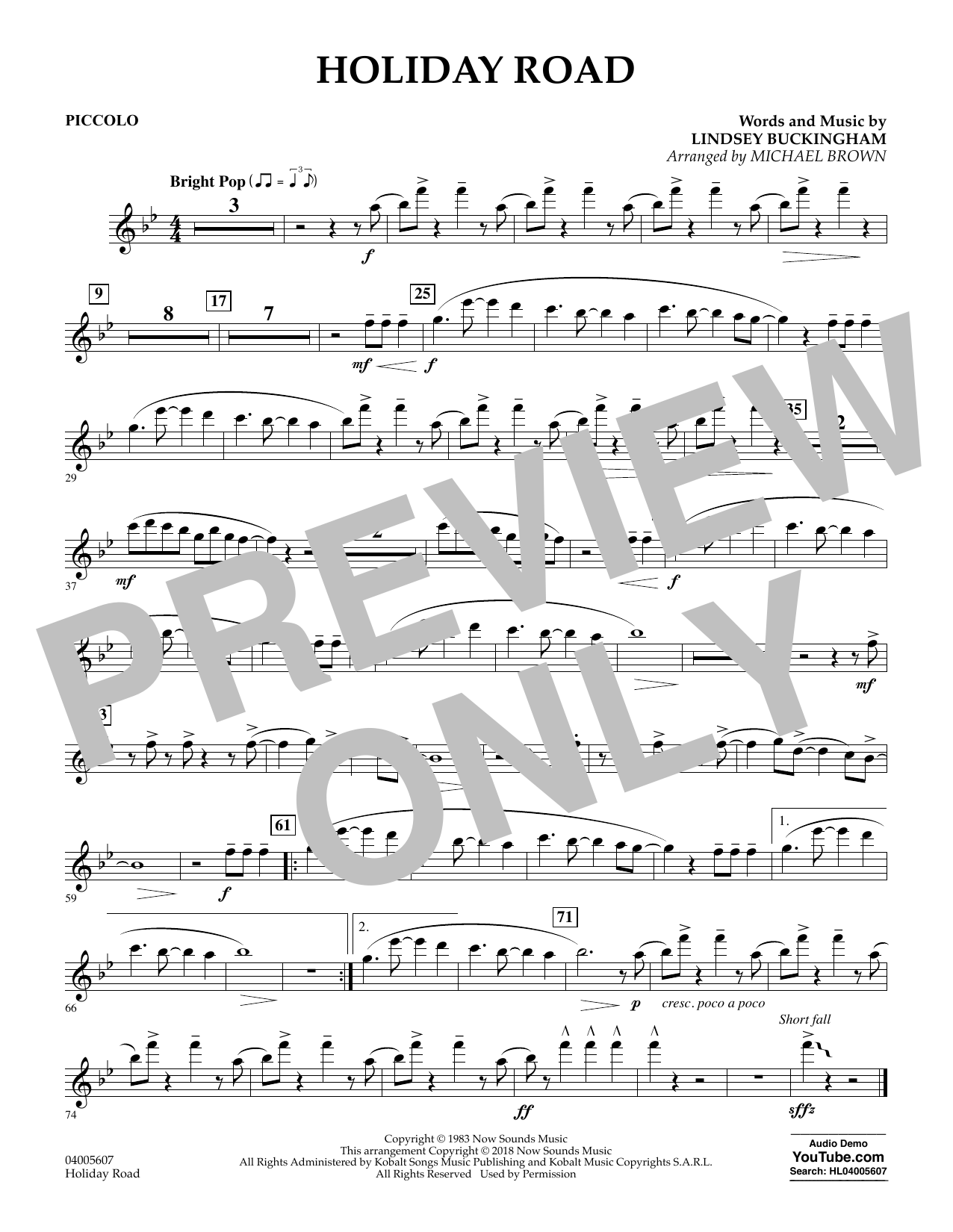 Holiday Road (from National Lampoon's Vacation) (arr. Michael Brown) - Piccolo (Concert Band)