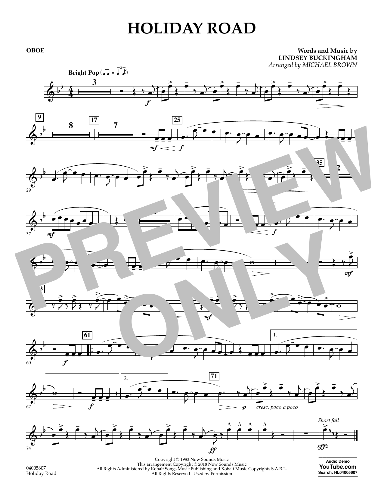 Holiday Road (from National Lampoon's Vacation) (arr. Michael Brown) - Oboe (Concert Band)