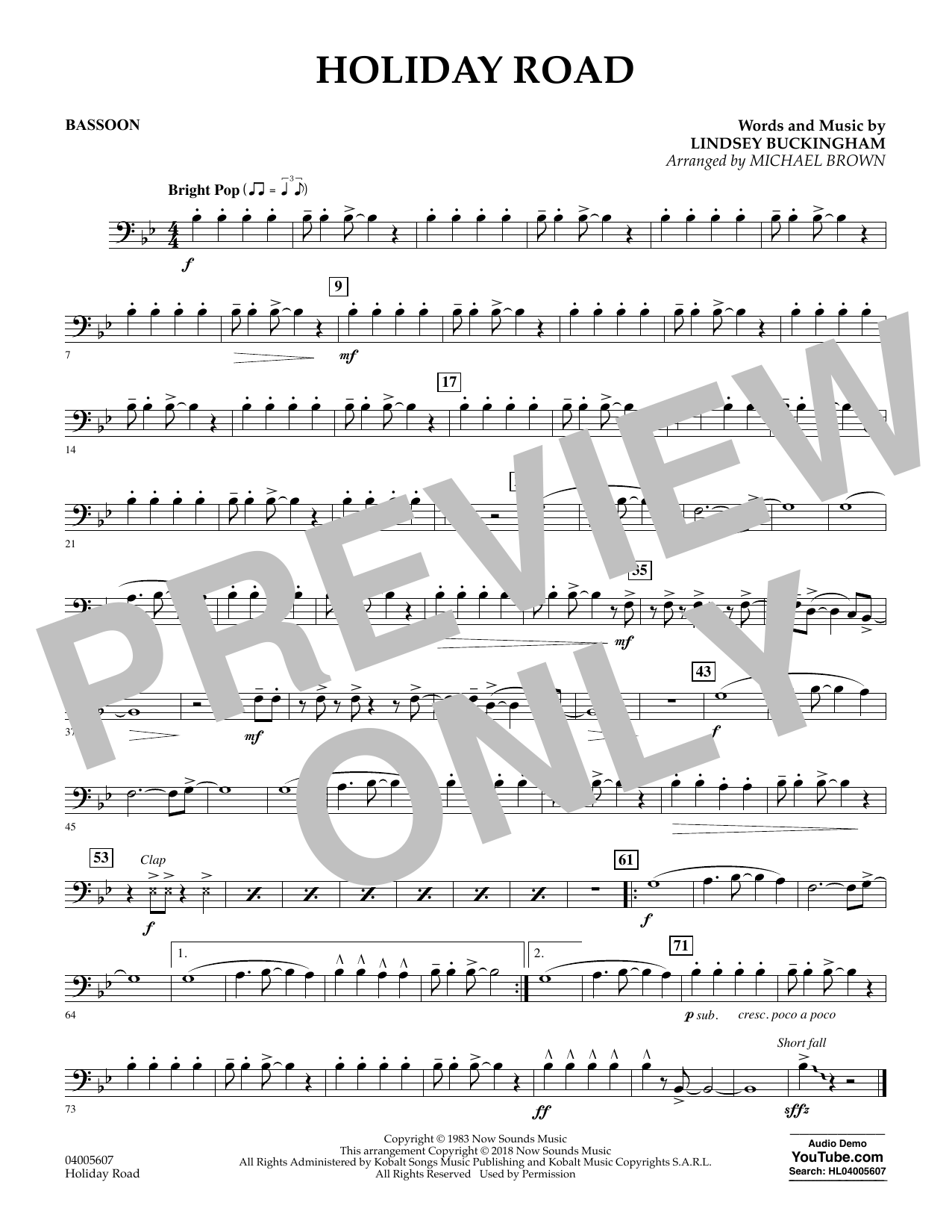 Holiday Road (from National Lampoon's Vacation) (arr. Michael Brown) - Bassoon (Concert Band)