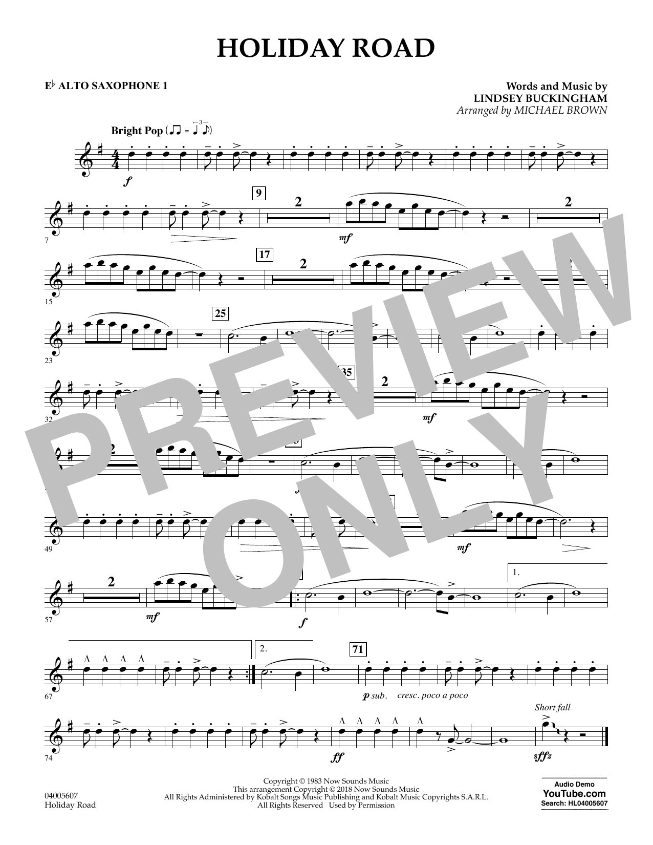 Holiday Road (from National Lampoon's Vacation) (arr. Michael Brown) - Eb Alto Saxophone 1 (Concert Band)
